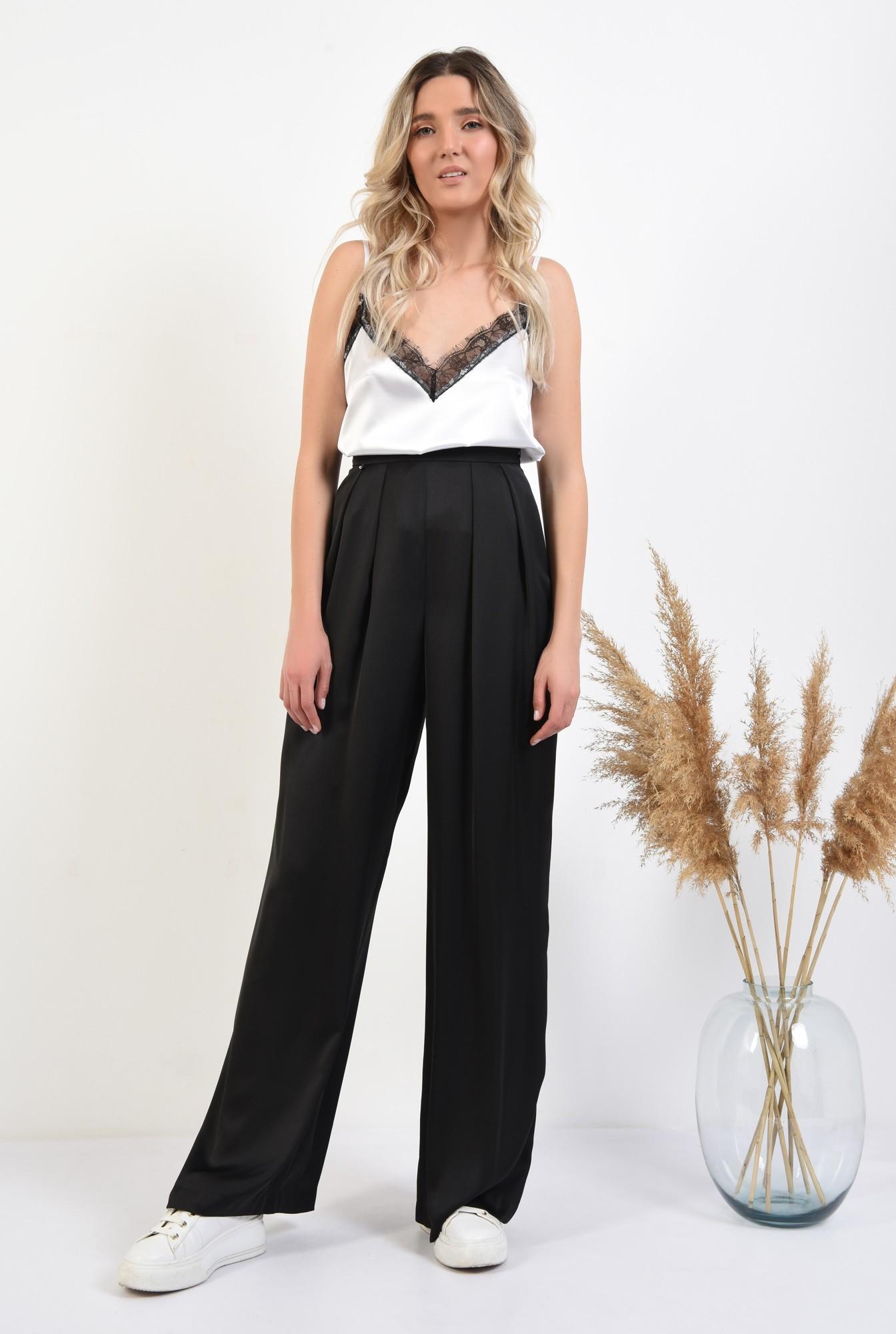 3 - pantaloni eleganti, evazati, cu pliuri, talie inalta, pantaloni de ocazie