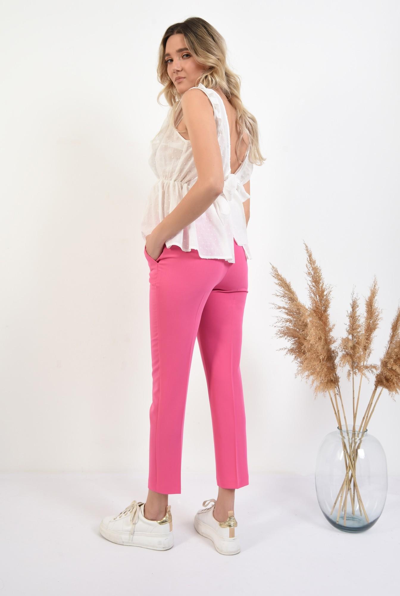 1 - pantaloni ciclamen, conici, talie medie, cu buzunare