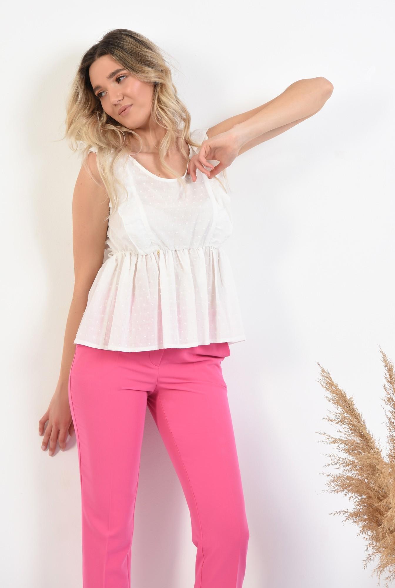 0 - pantaloni ciclamen, conici, talie medie, cu buzunare