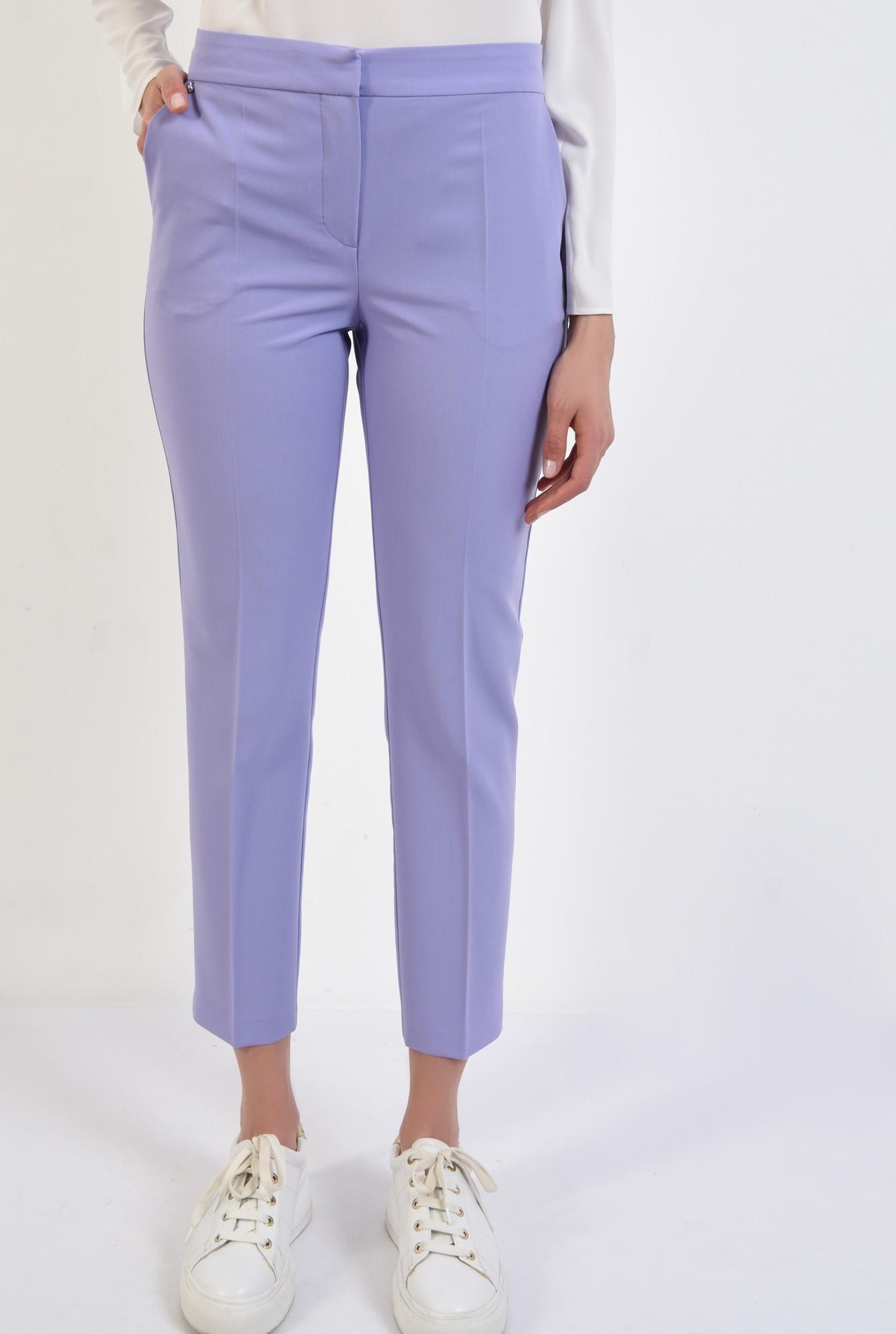 2 - 360 - pantaloni lila, conici, talie medie, cu buzunare