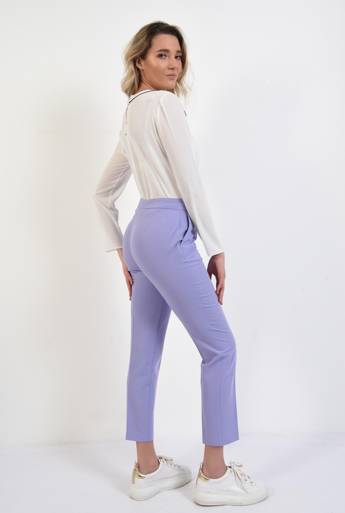 1 - 360 - pantaloni lila, conici, talie medie, cu buzunare