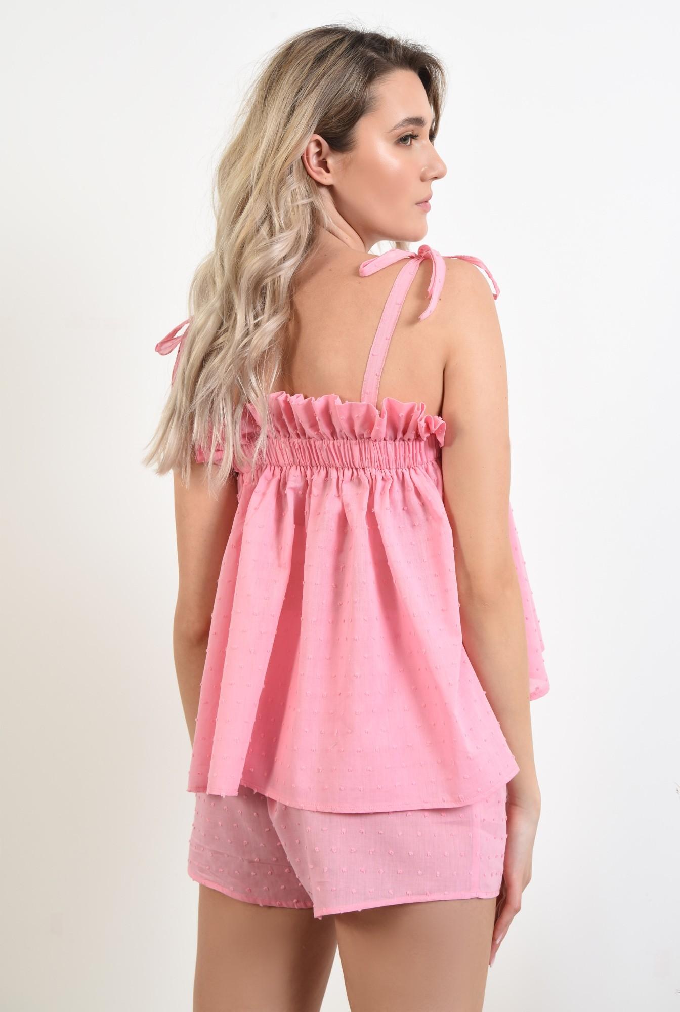 1 - 360 - pantaloni scurti, casual, plumeti, roz, sort plumeti