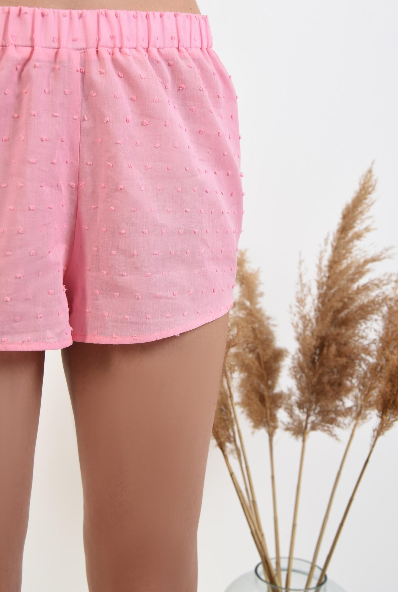 2 - 360 - pantaloni scurti, casual, plumeti, roz, sort plumeti