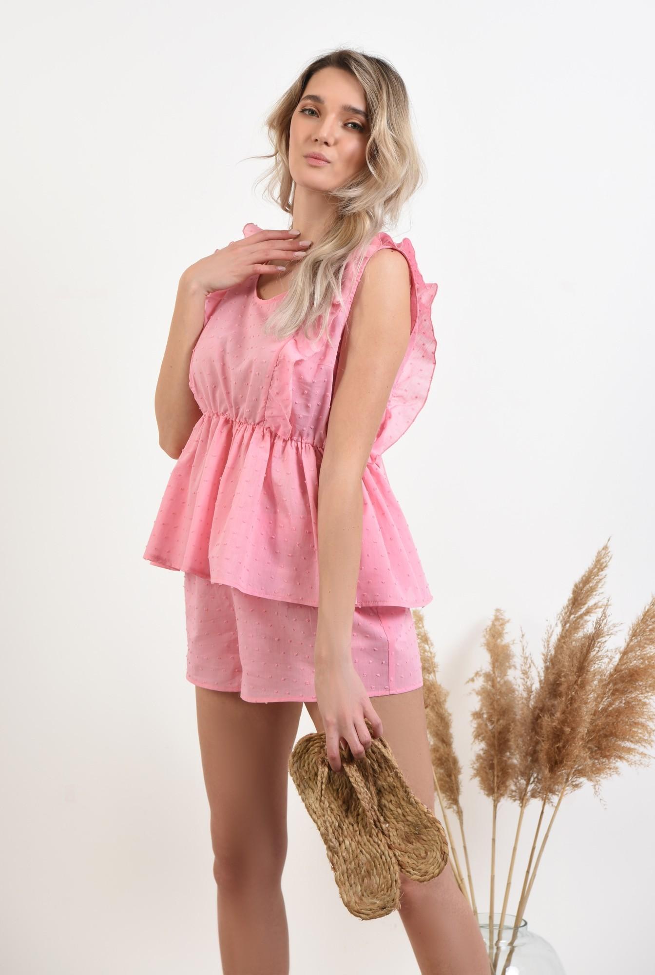 0 - 360 - pantaloni scurti, casual, plumeti, roz, sort plumeti