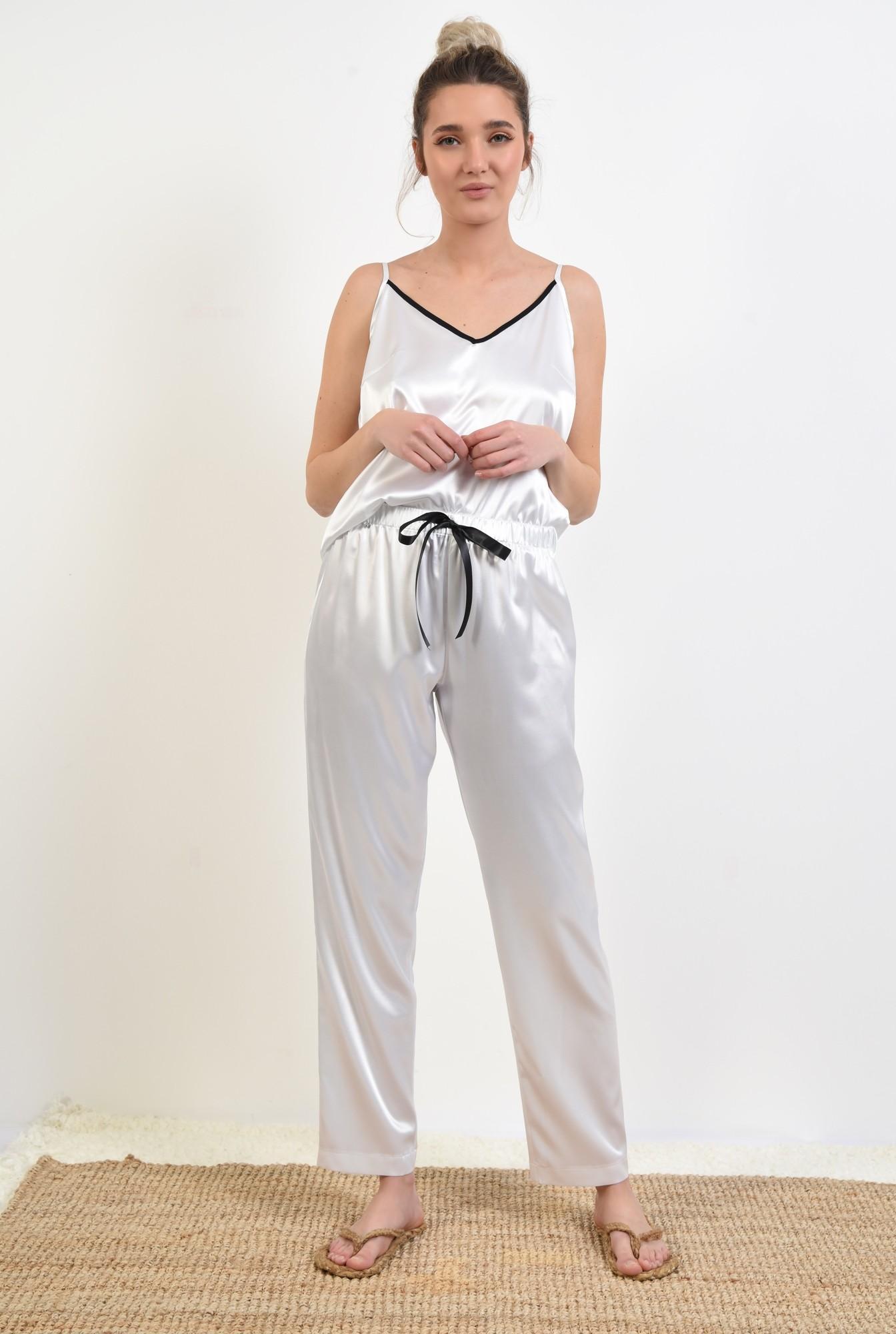 3 - pantaloni din satin, albi, lungi, cu funda in contrast