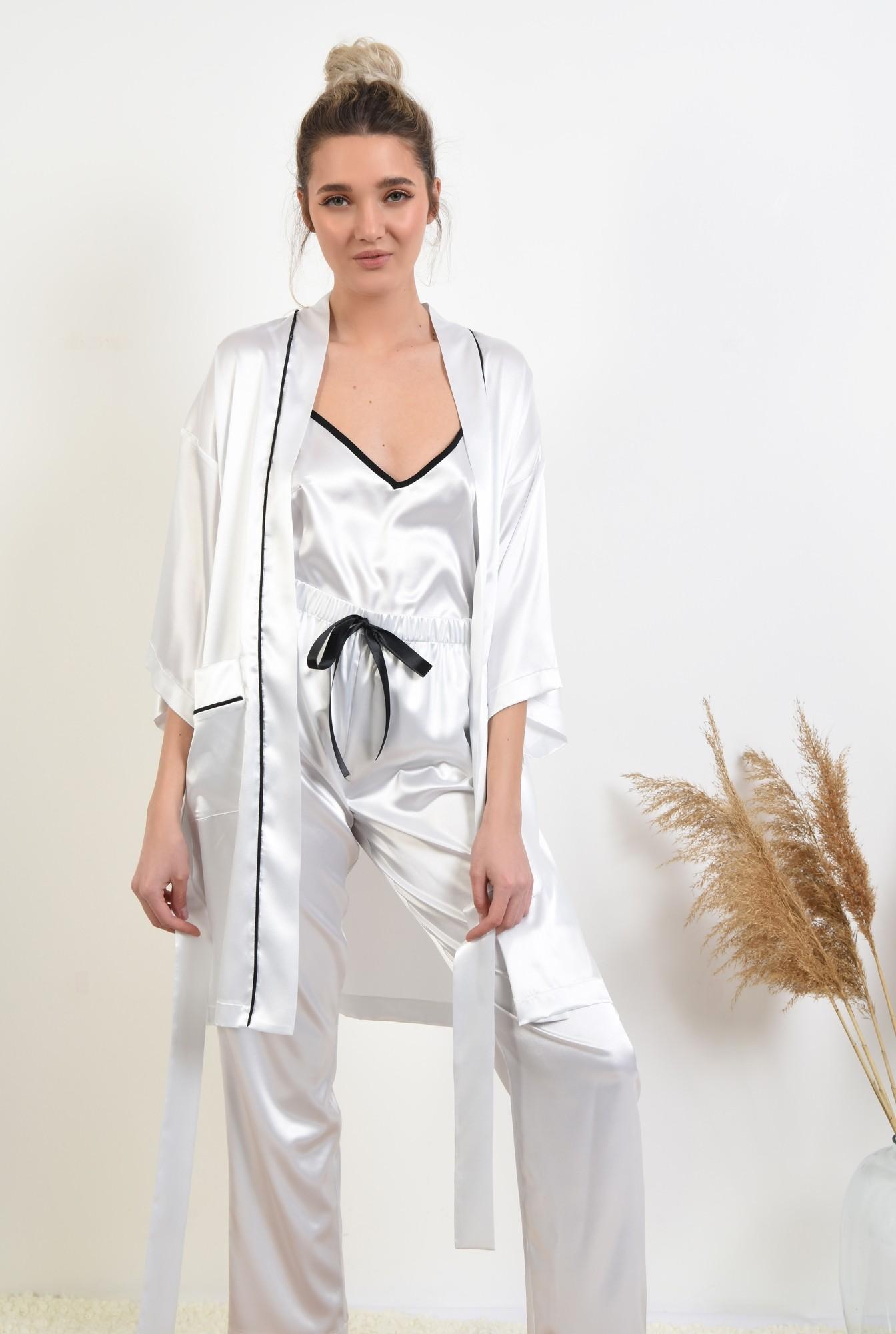 2 - pantaloni din satin, albi, lungi, cu funda in contrast