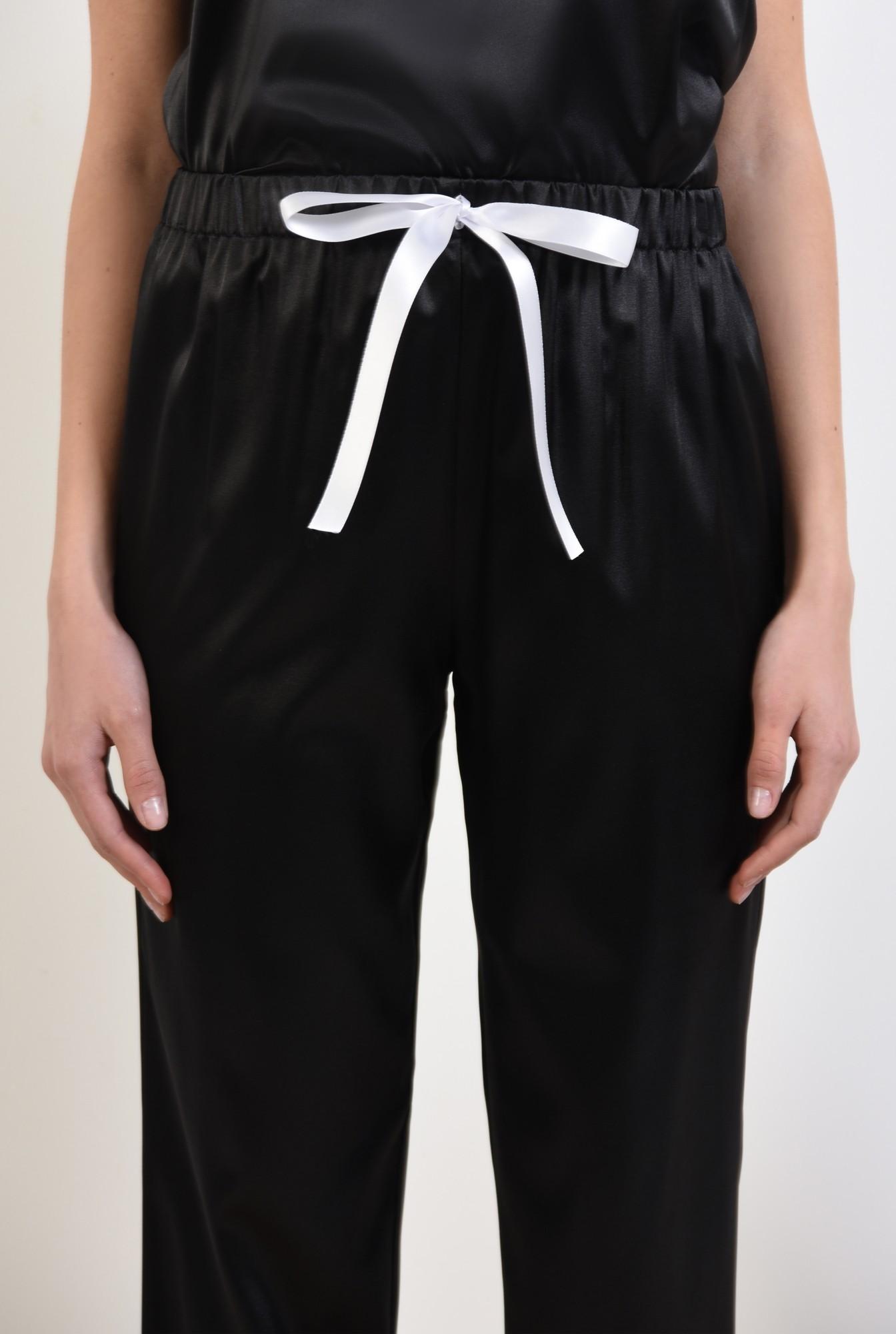 2 - 360 - pantaloni din satin, negri, lungi, cu funda in contrast