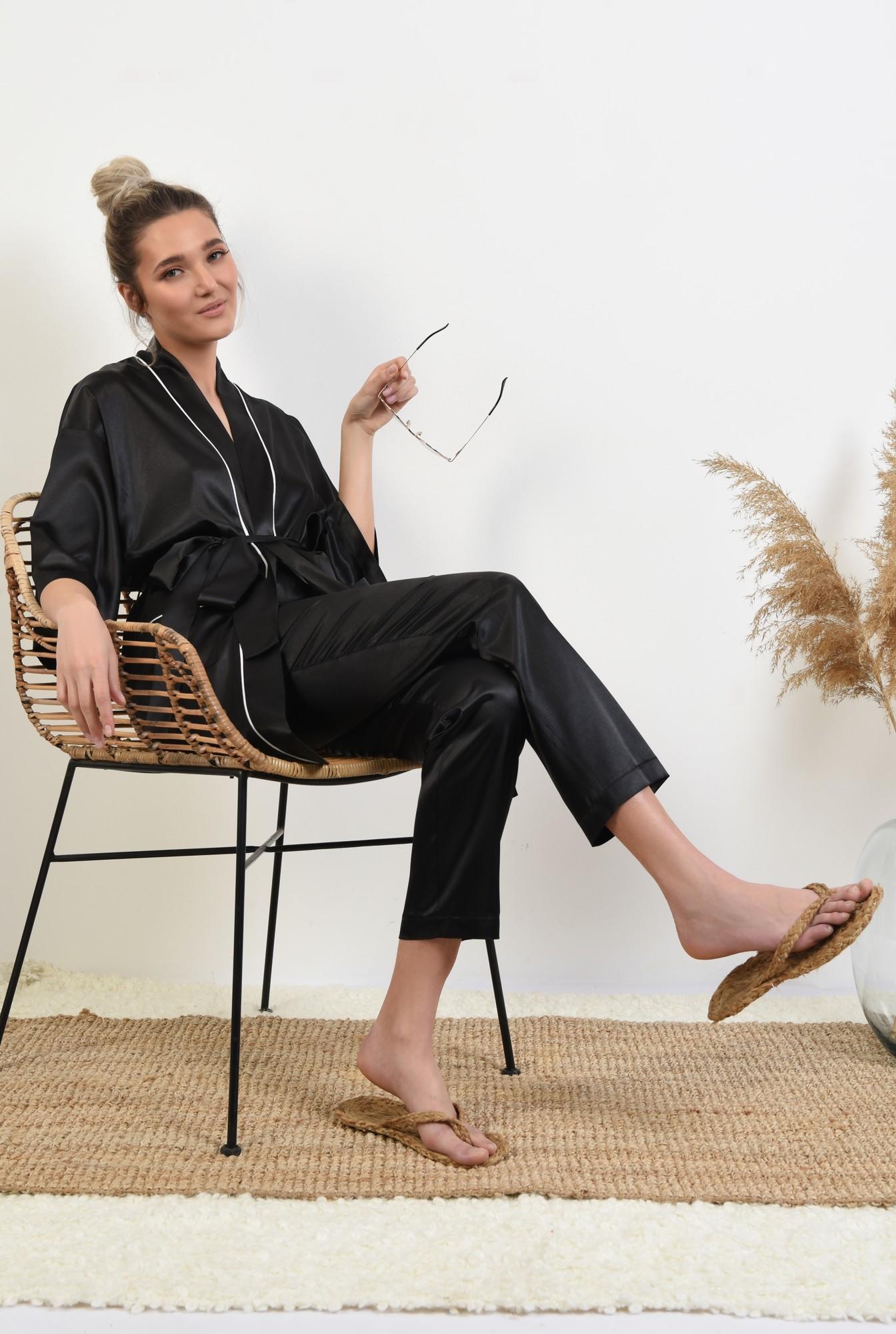 0 - 360 - pantaloni din satin, negri, lungi, cu funda in contrast