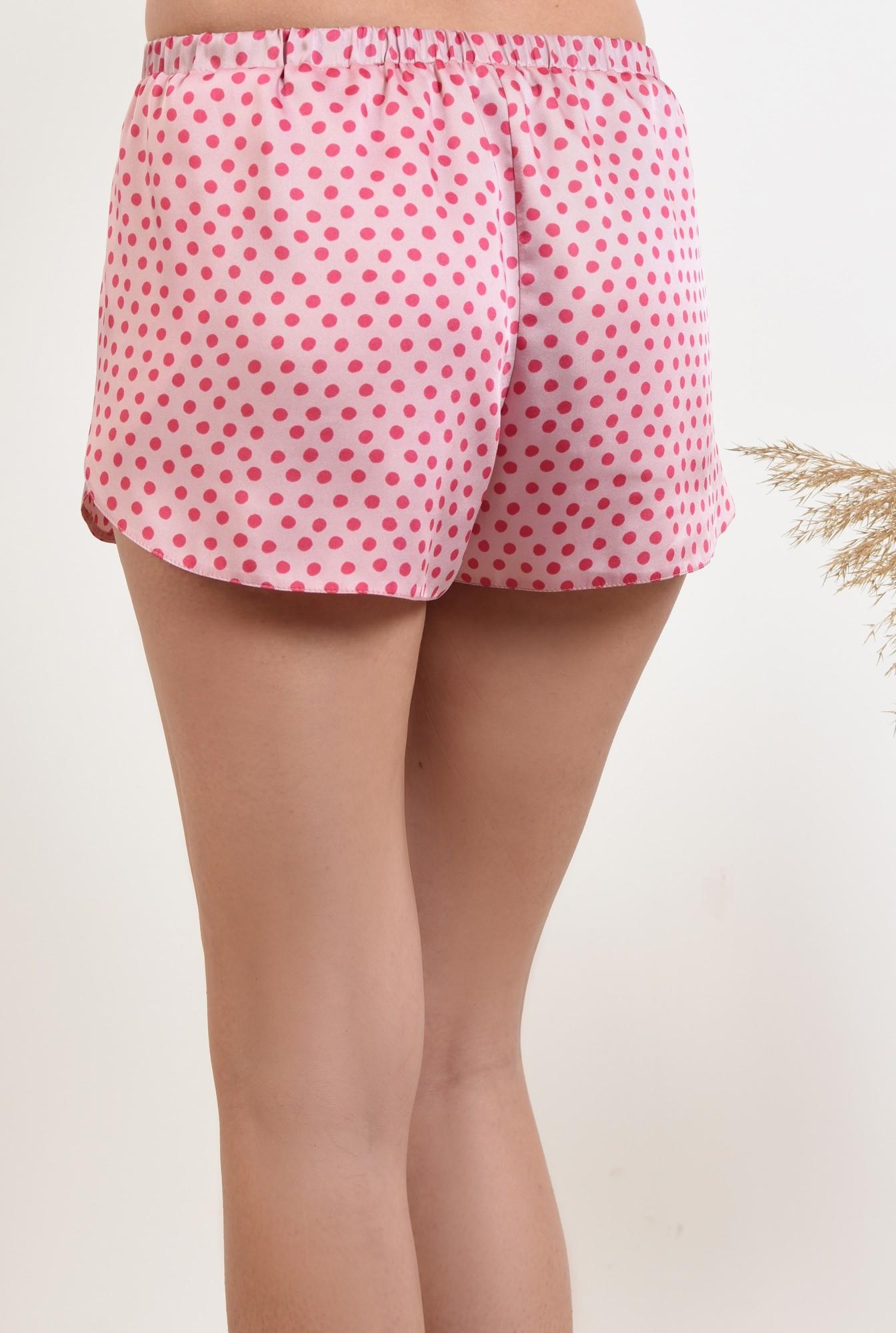 1 - 360 - sort din satin, cu imprimeu geometric, buline roz, pantaloni scurti