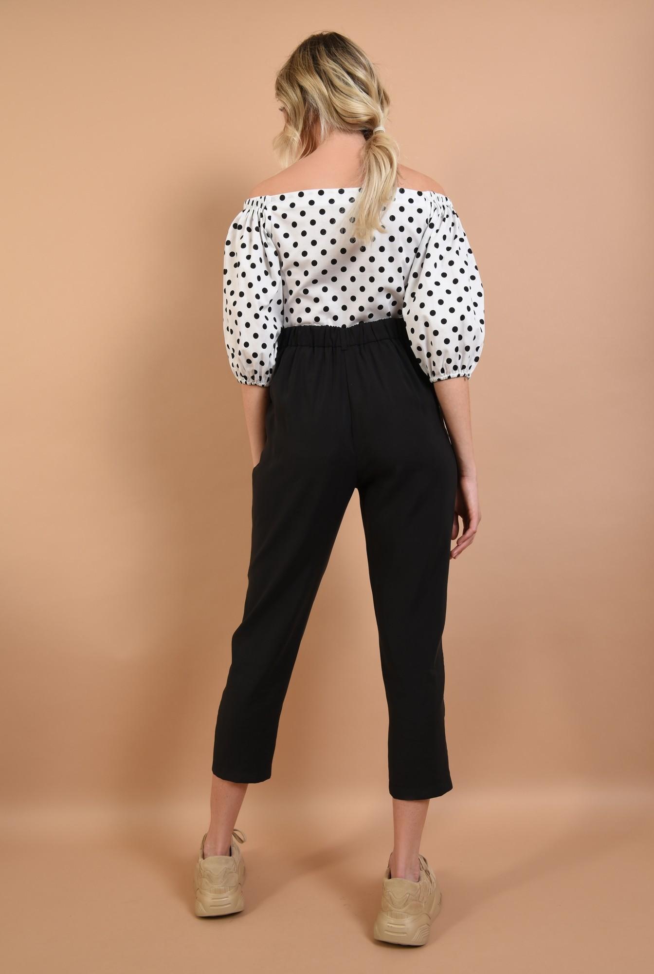 1 - pantaloni casual, conici, cu pense, negru, cu buzunare