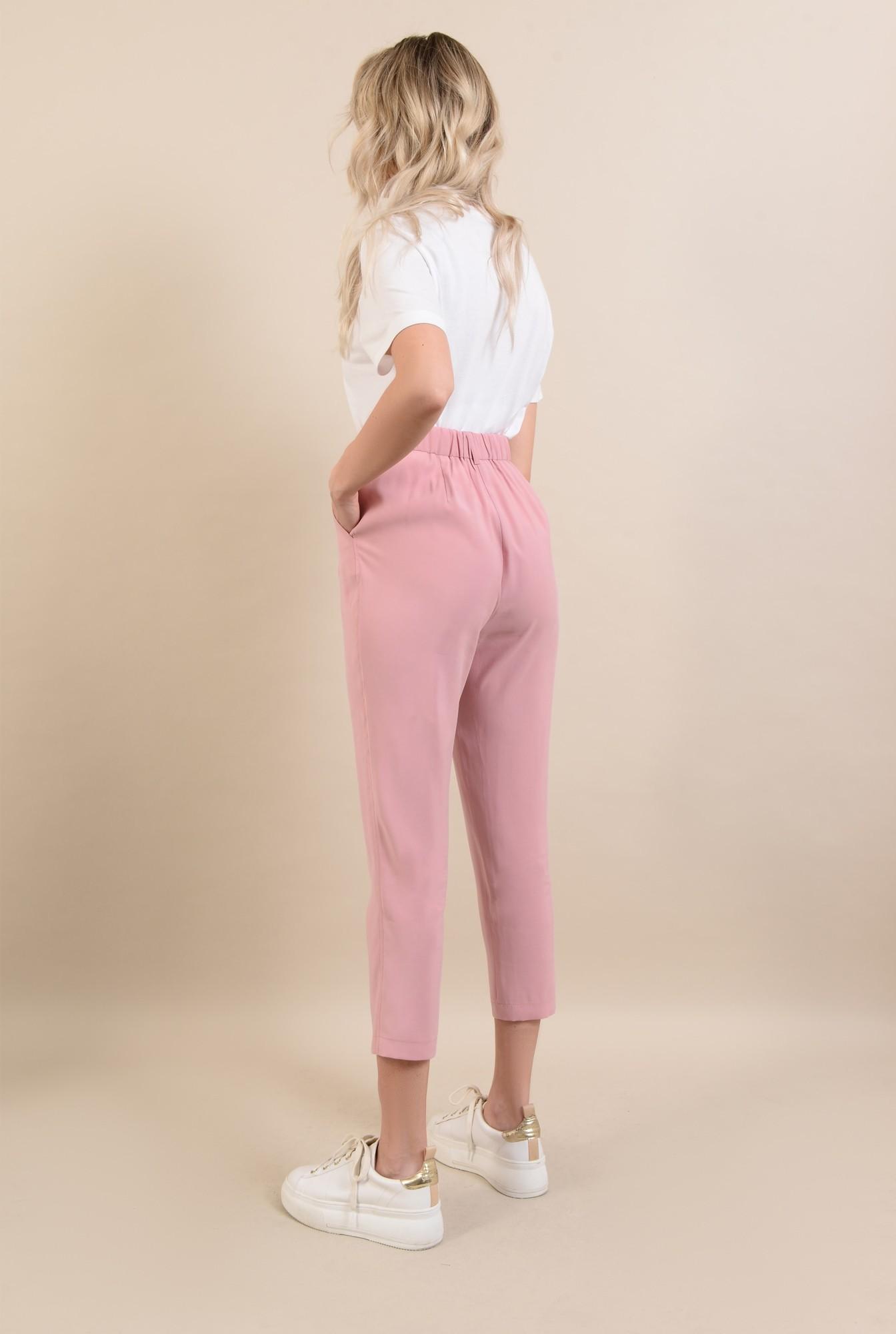 1 -  pantaloni casual, roz, conici, cu pense, cu buzunare