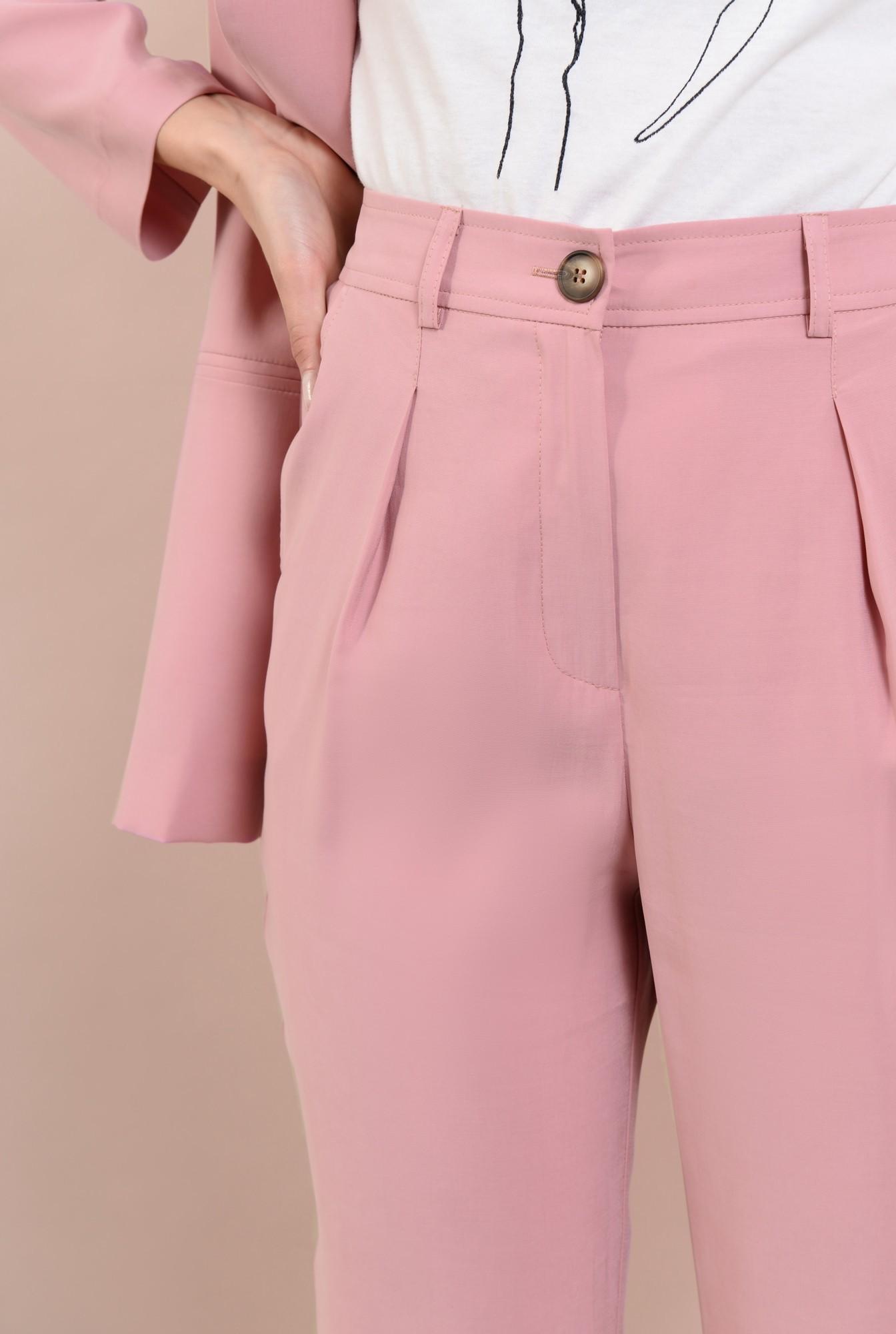 2 -  pantaloni casual, roz, conici, cu pense, cu buzunare