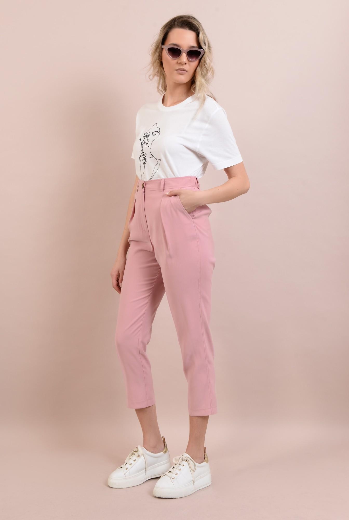 3 -  pantaloni casual, roz, conici, cu pense, cu buzunare
