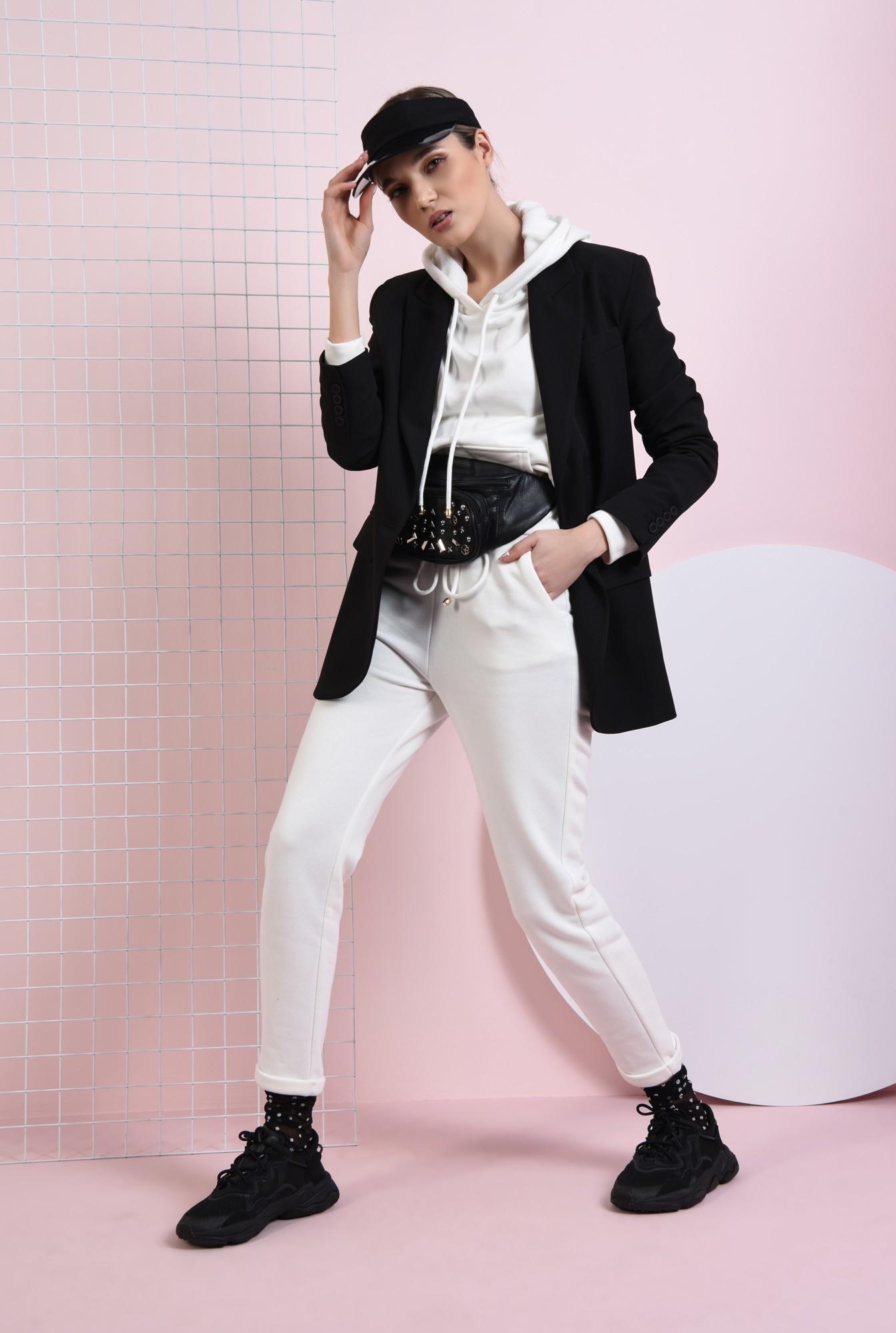 0 - pantaloni casual, albi, cu buzunare, Poema