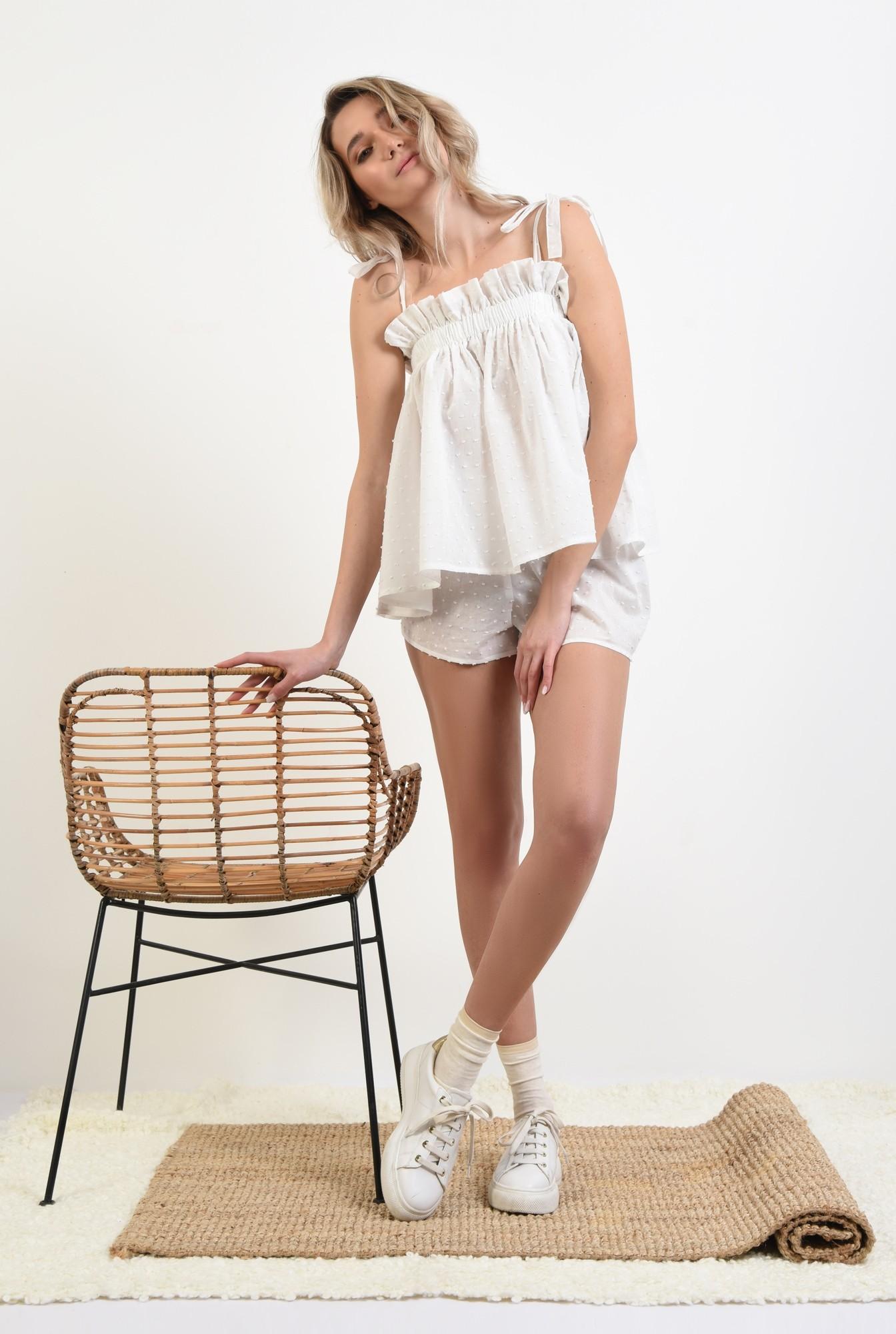3 - pantaloni scurti, casual, plumeti, alb, sort plumeti