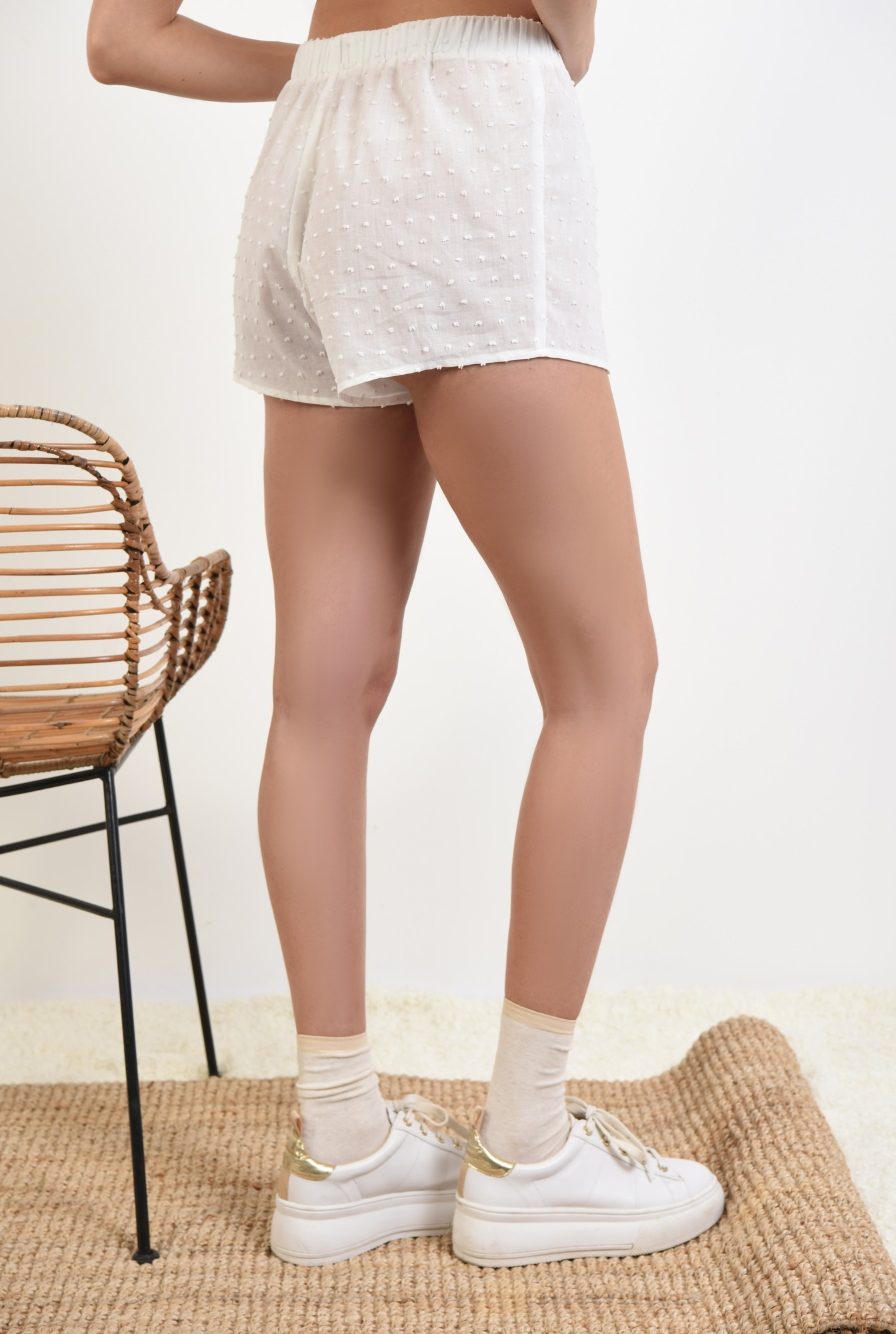 1 - pantaloni scurti, casual, plumeti, alb, sort plumeti
