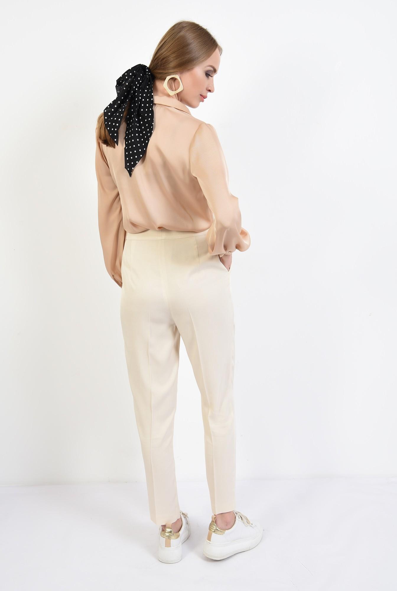 1 - 360 - pantaloni casual, crem, conici, cu pense, Poema