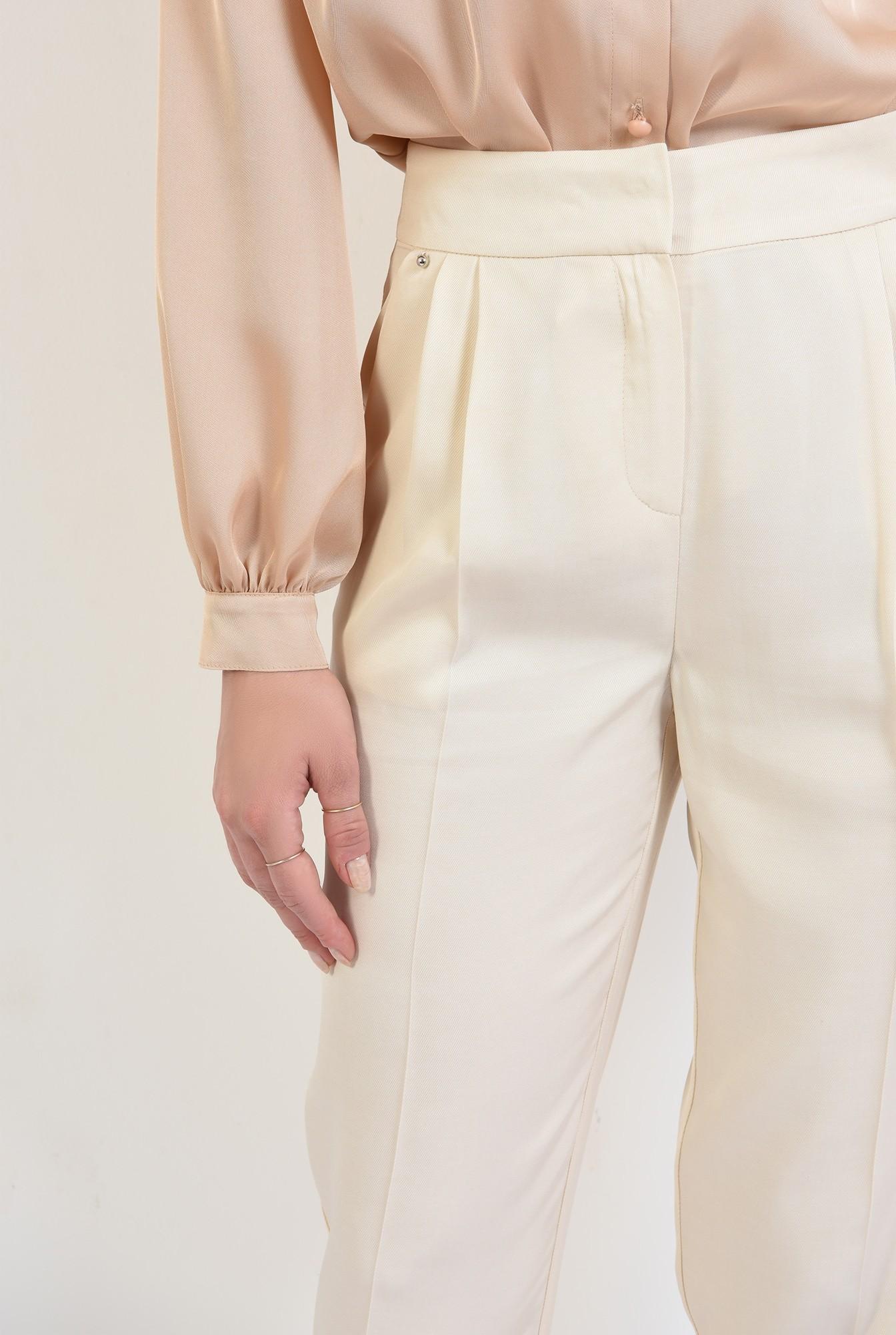 2 - 360 - pantaloni casual, crem, conici, cu pense, Poema