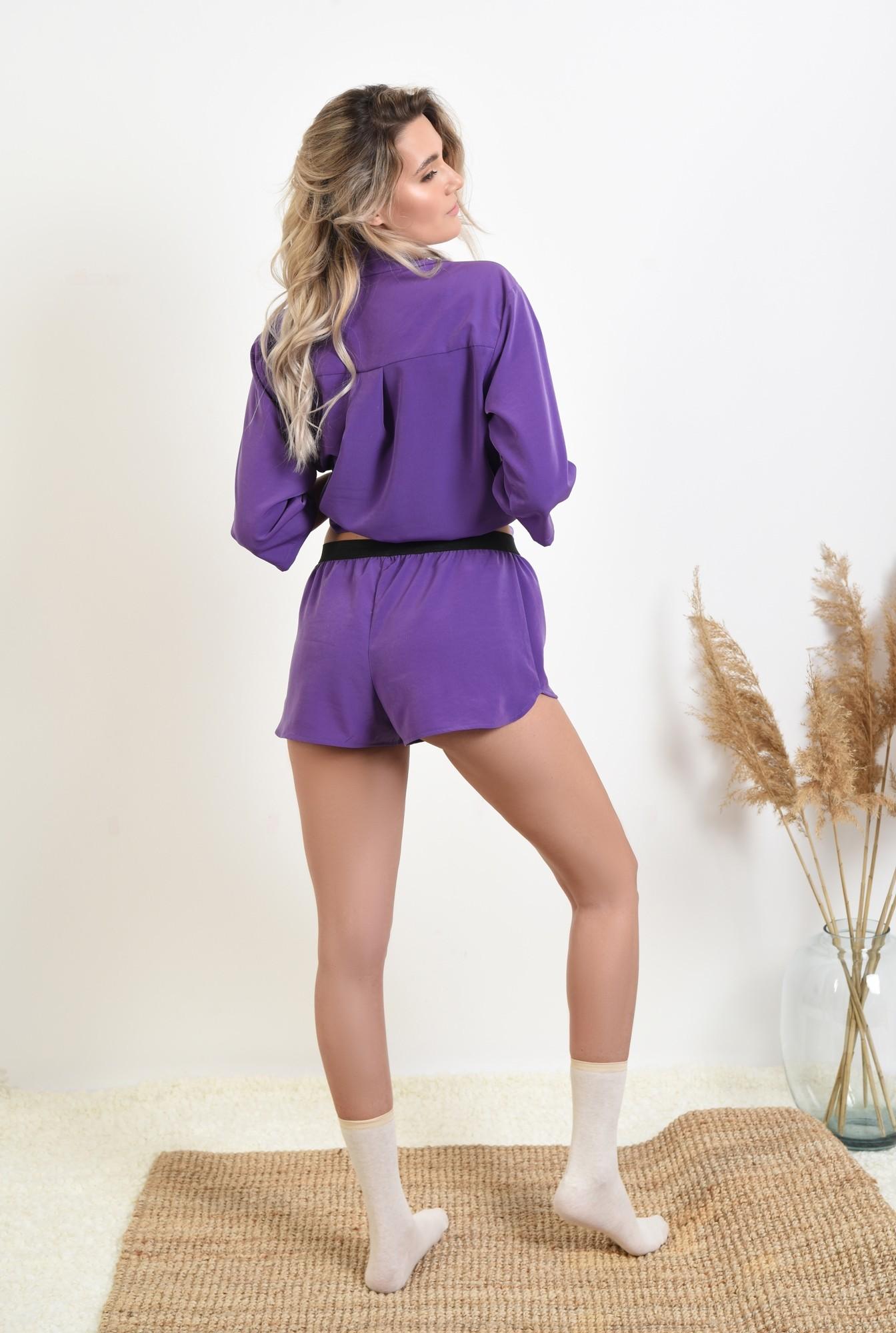 1 - pantaloni scurti, casual, betelie in contrast, sort lejer