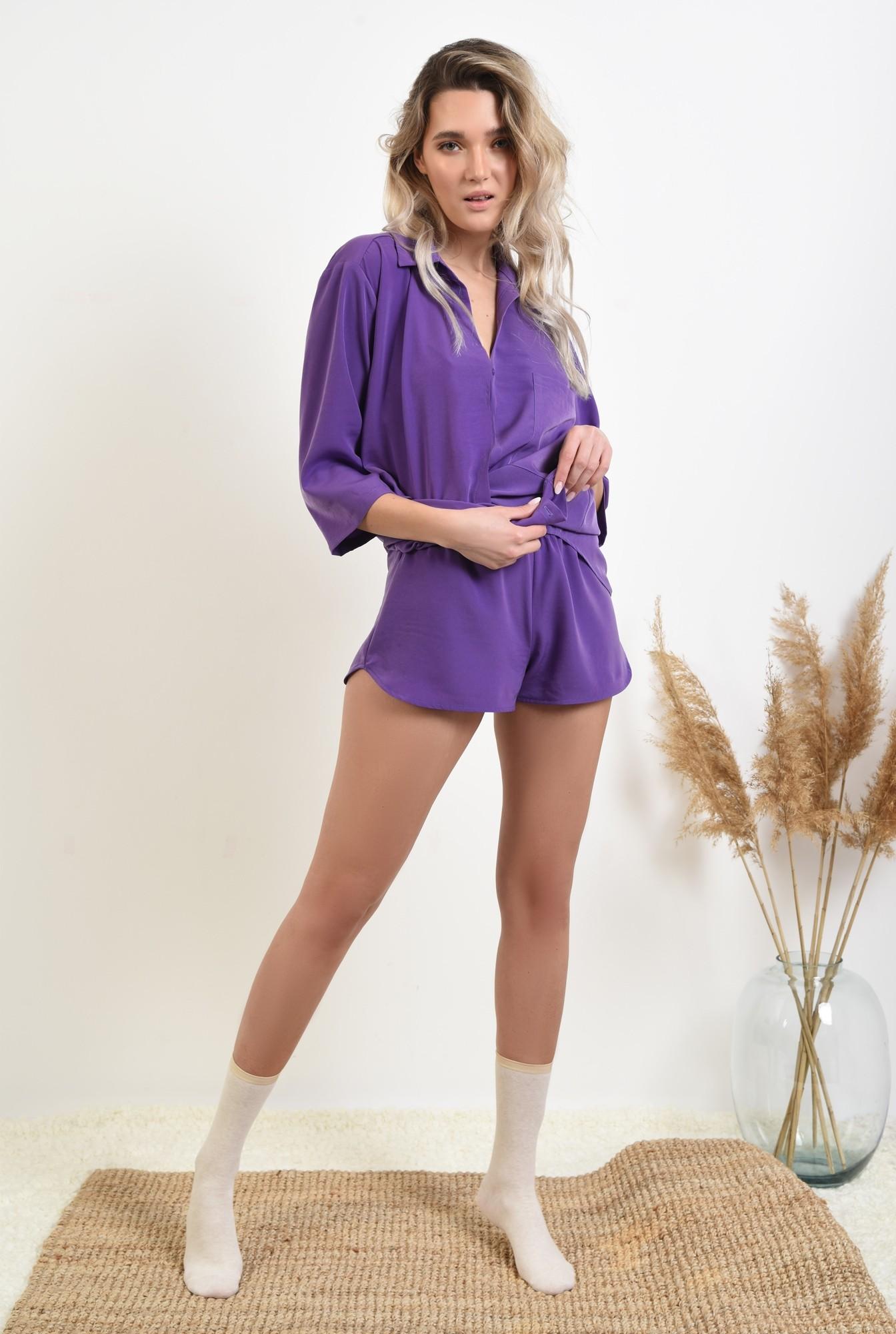 0 - pantaloni scurti, casual, betelie in contrast, sort lejer