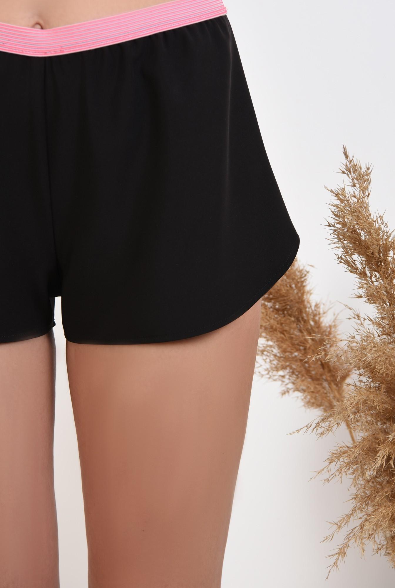 2 - pantaloni scurti, negri, sort, betelie in contrast