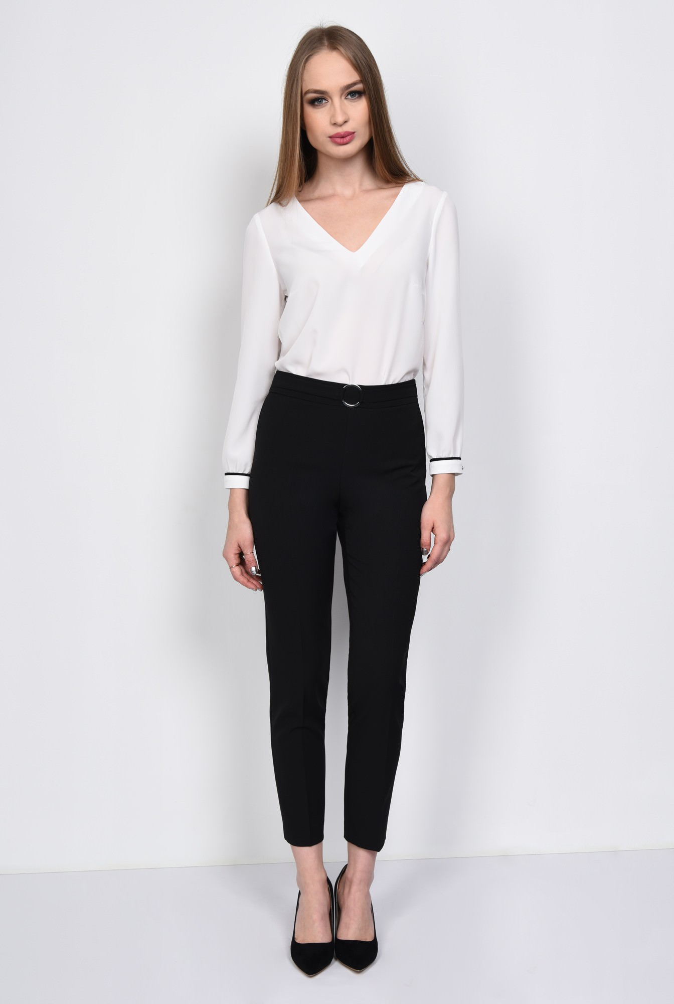 3 - PANTALON OFFICE CONIC PT 127-NEGRU