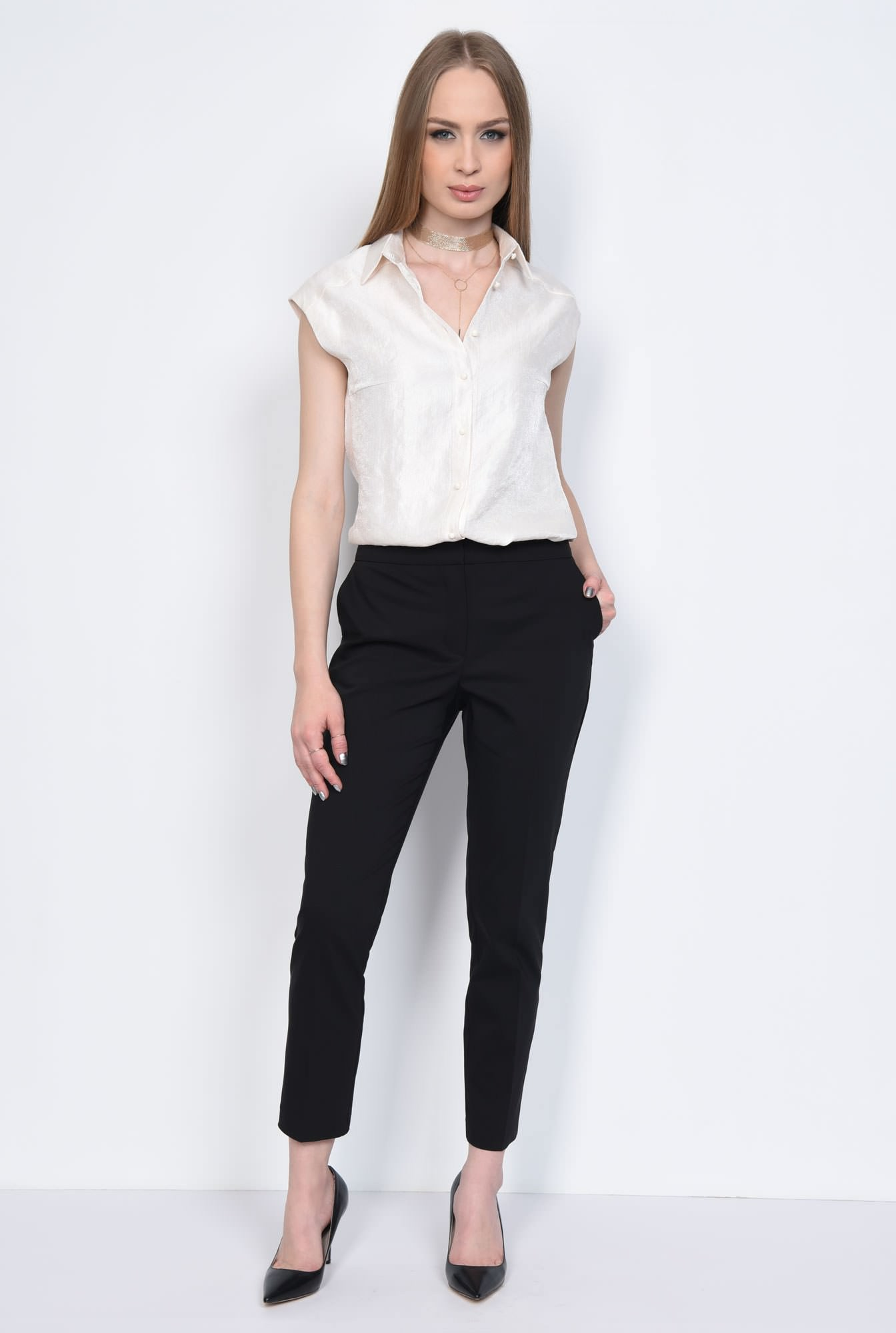 3 - PANTALON OFFICE CONIC PT 144-NEGRU