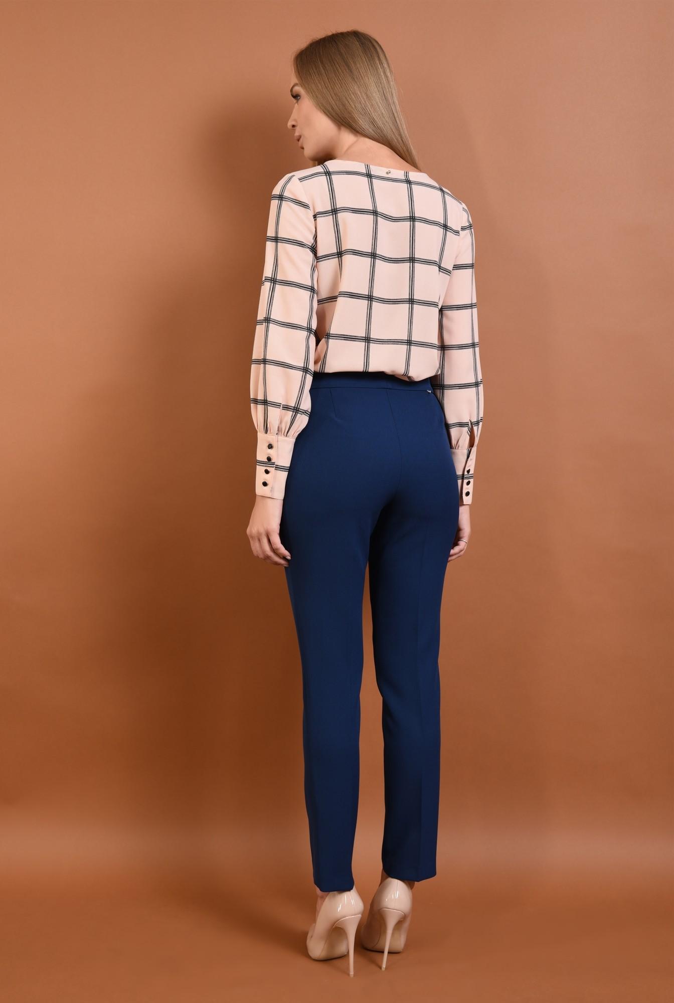 1 - 360 - Pantaloni conici, de birou, pantaloni online, albastru, croi tigareta
