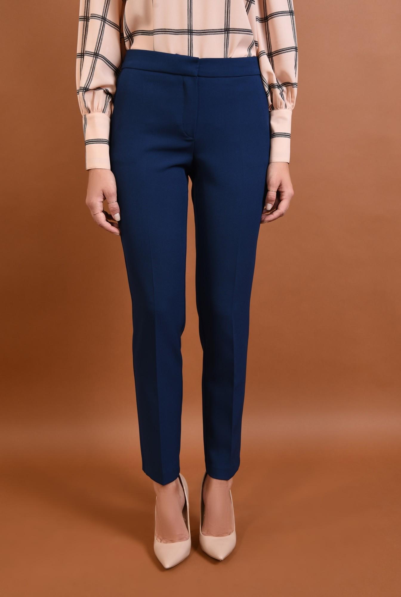 2 - 360 - Pantaloni conici, de birou, pantaloni online, albastru, croi tigareta