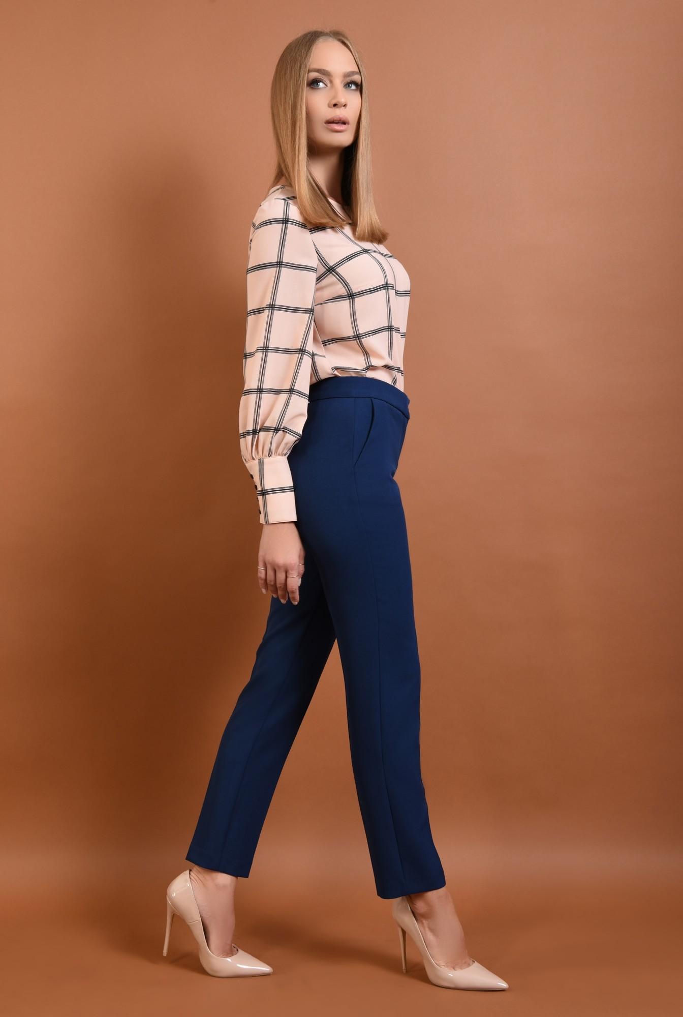 0 - 360 - Pantaloni conici, de birou, pantaloni online, albastru, croi tigareta