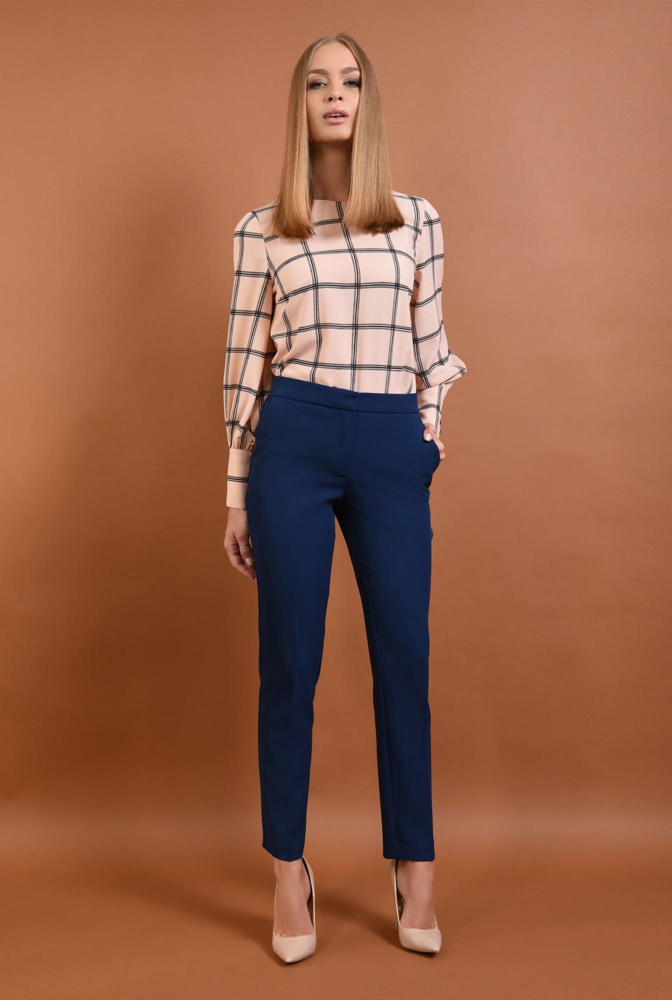 3 - 360 - Pantaloni conici, de birou, pantaloni online, albastru, croi tigareta