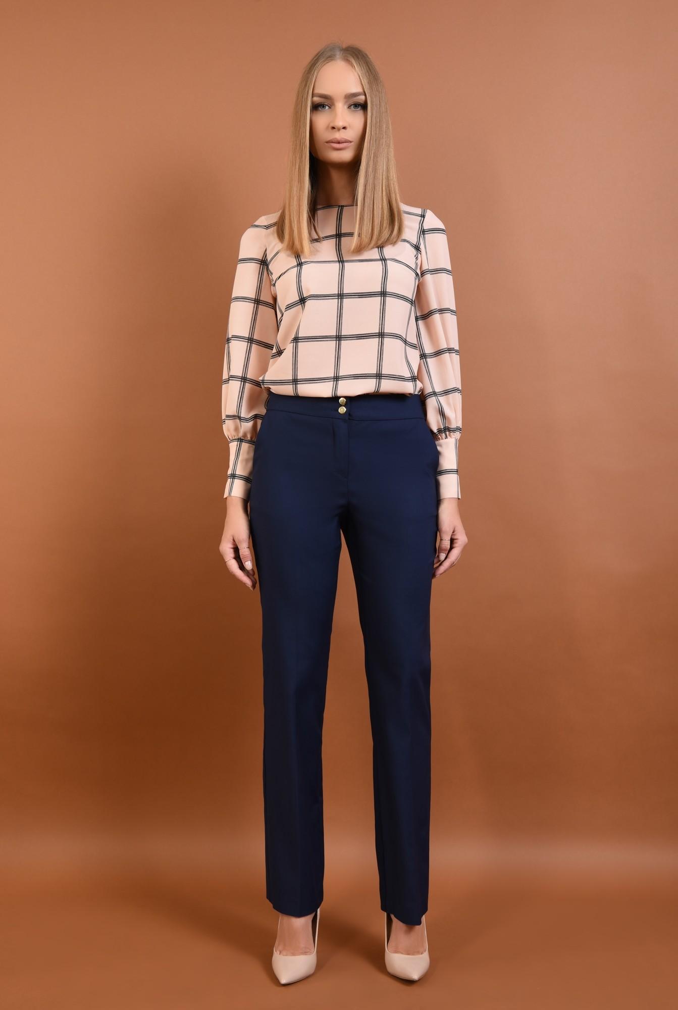 3 - Pantaloni office, bleumarin, talie medie