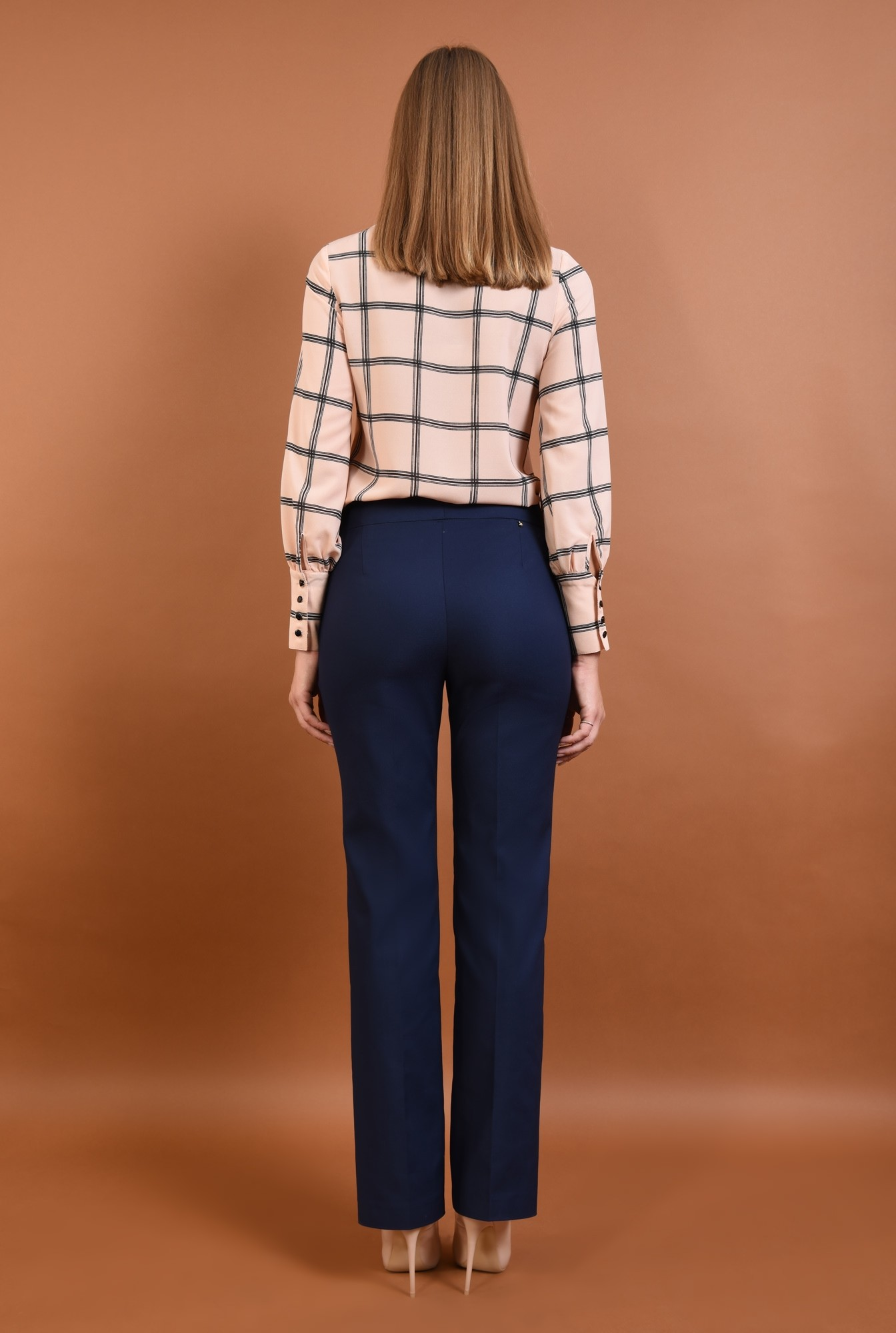 1 - Pantaloni office, bleumarin, talie medie