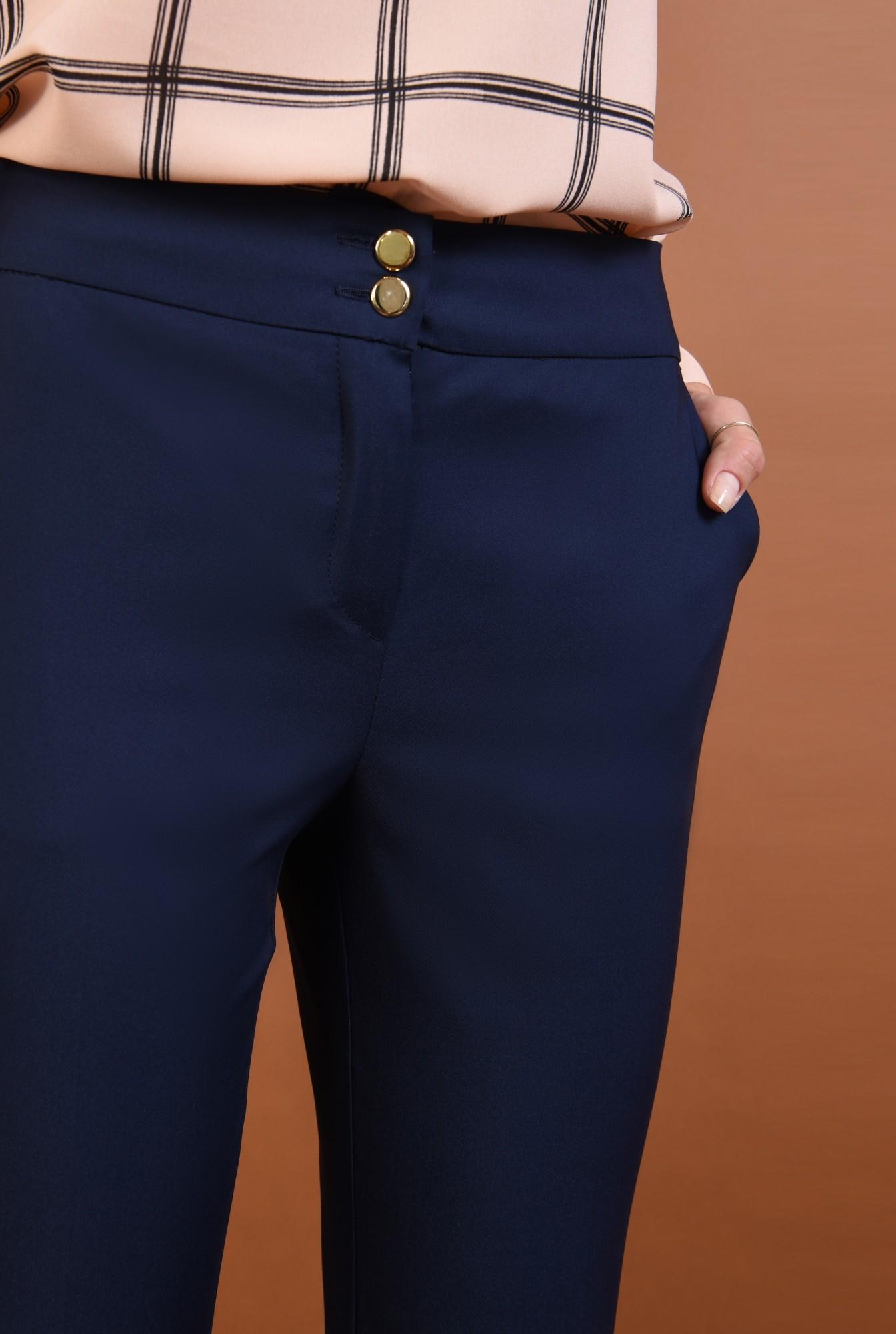 2 - Pantaloni office, bleumarin, talie medie
