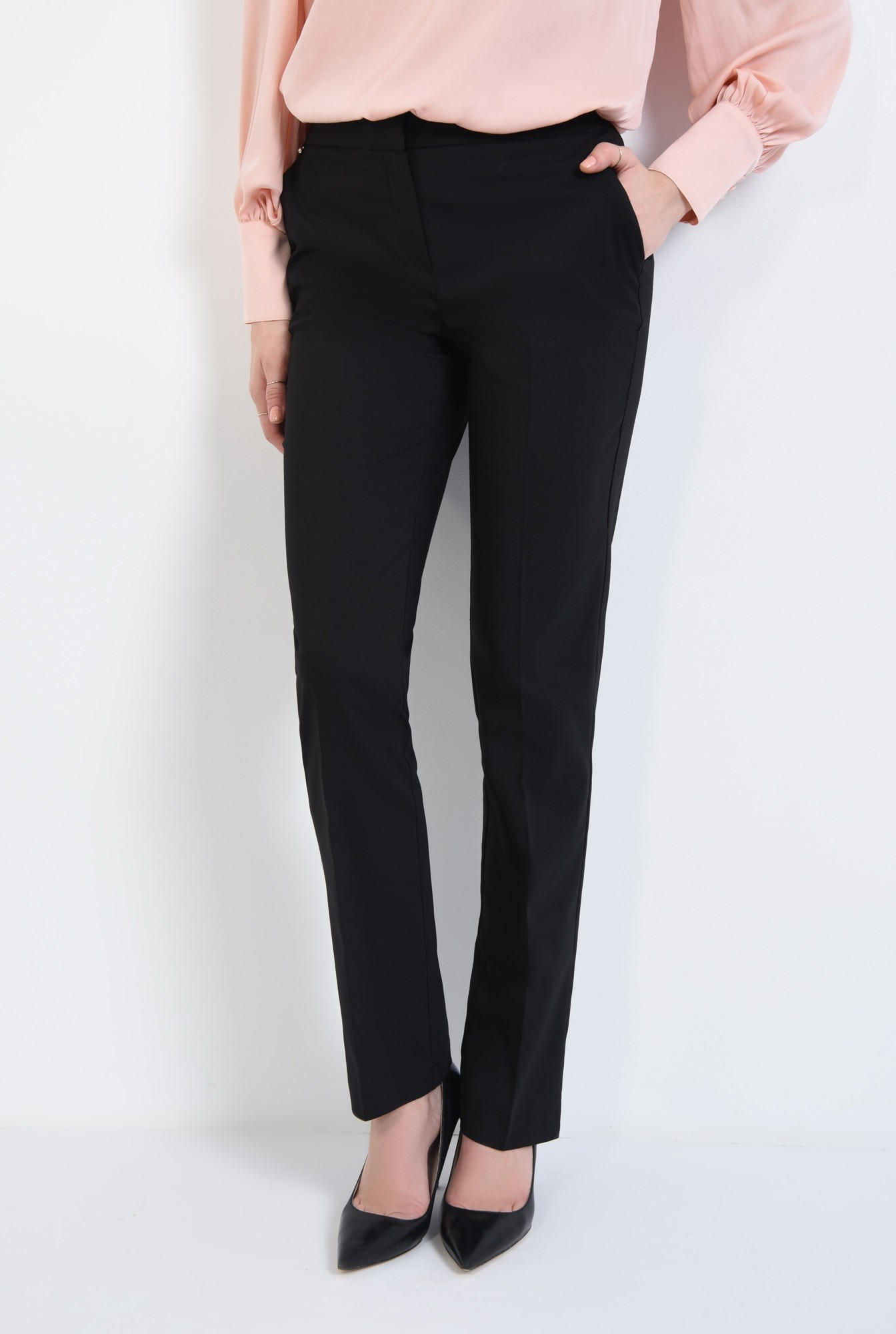 2 - Pantaloni casual, negru, bumbac