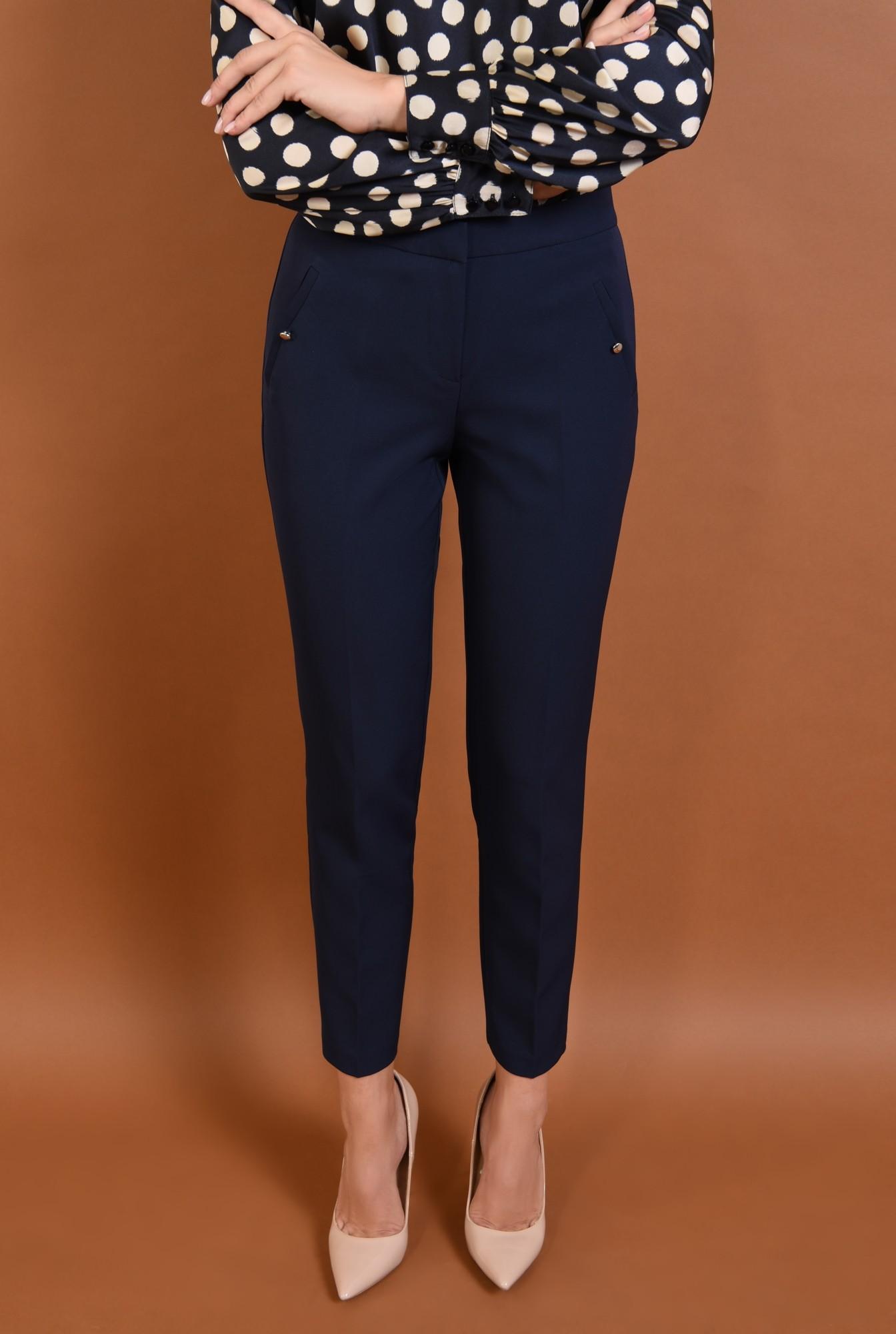 2 - pantaloni conici, talie medie, bleumarin, buzunare