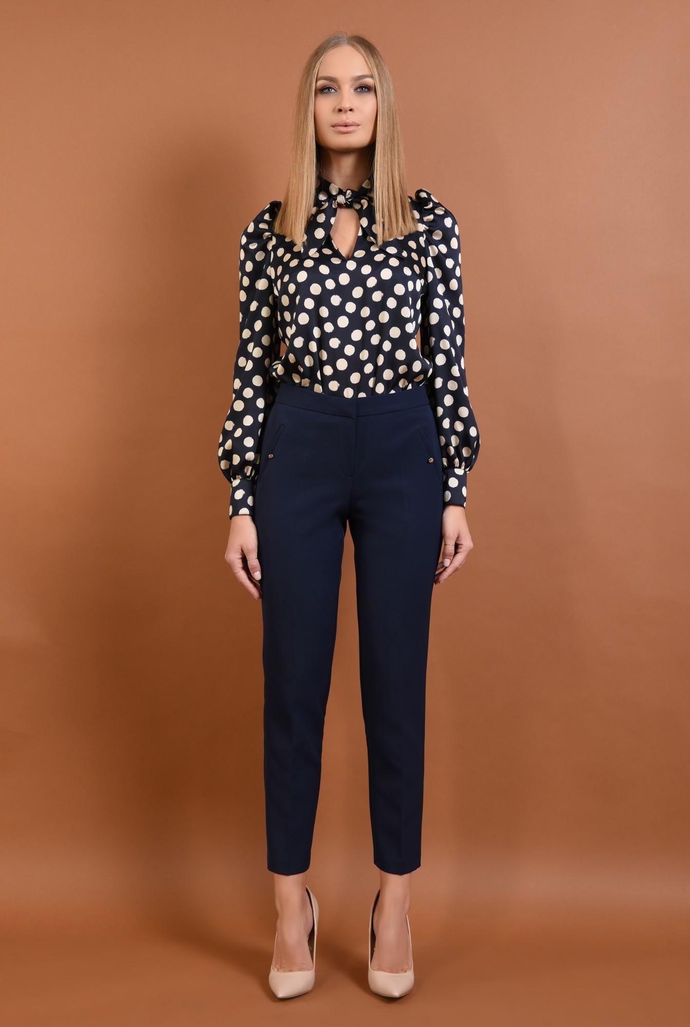3 - pantaloni conici, talie medie, bleumarin, buzunare