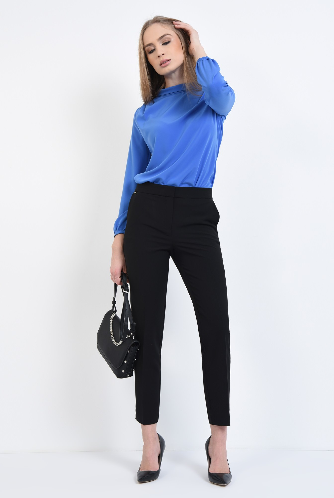 3 - Pantaloni casual, negru, cu buzunare laterale