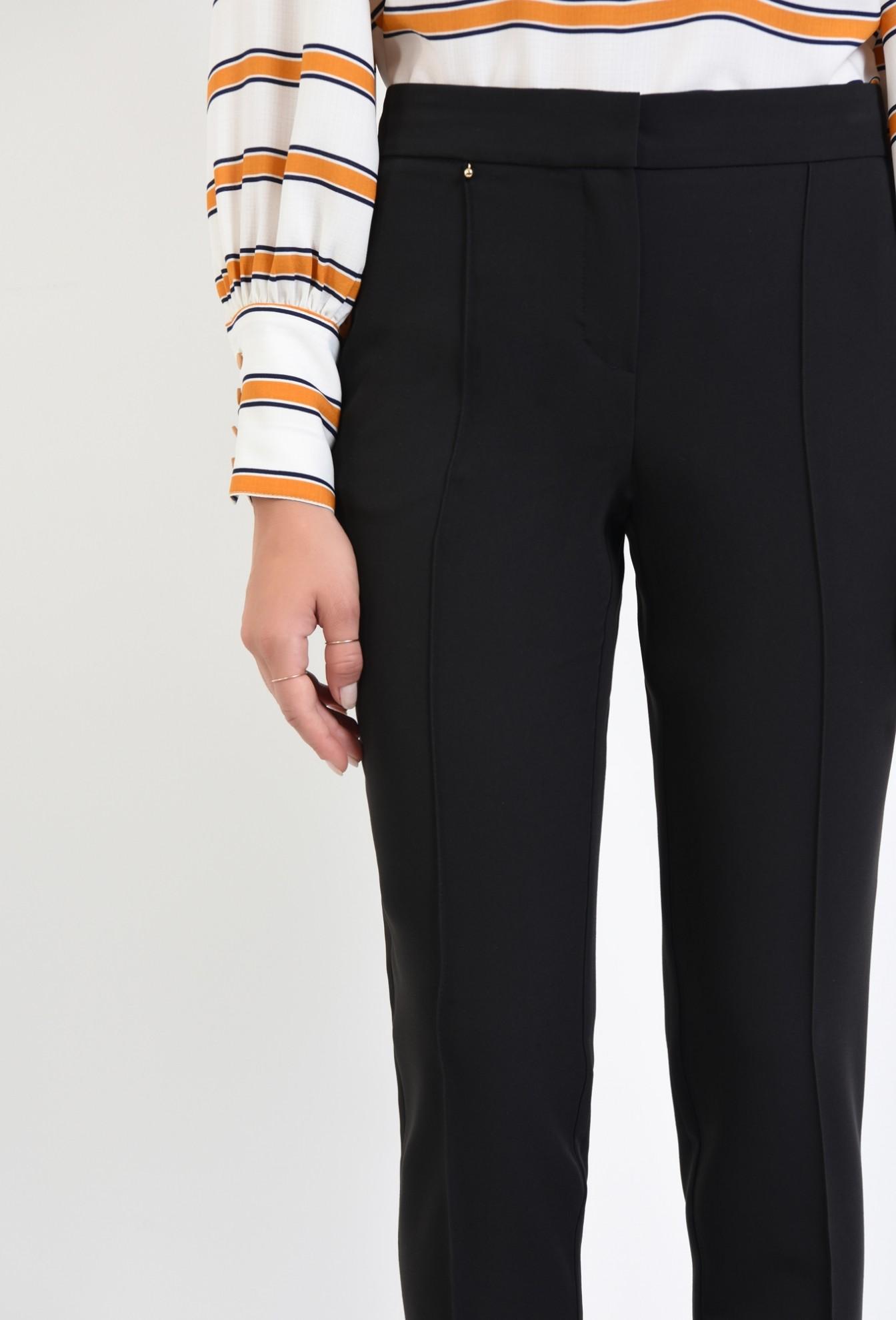 2 - pantaloni conici, negru, talie medie