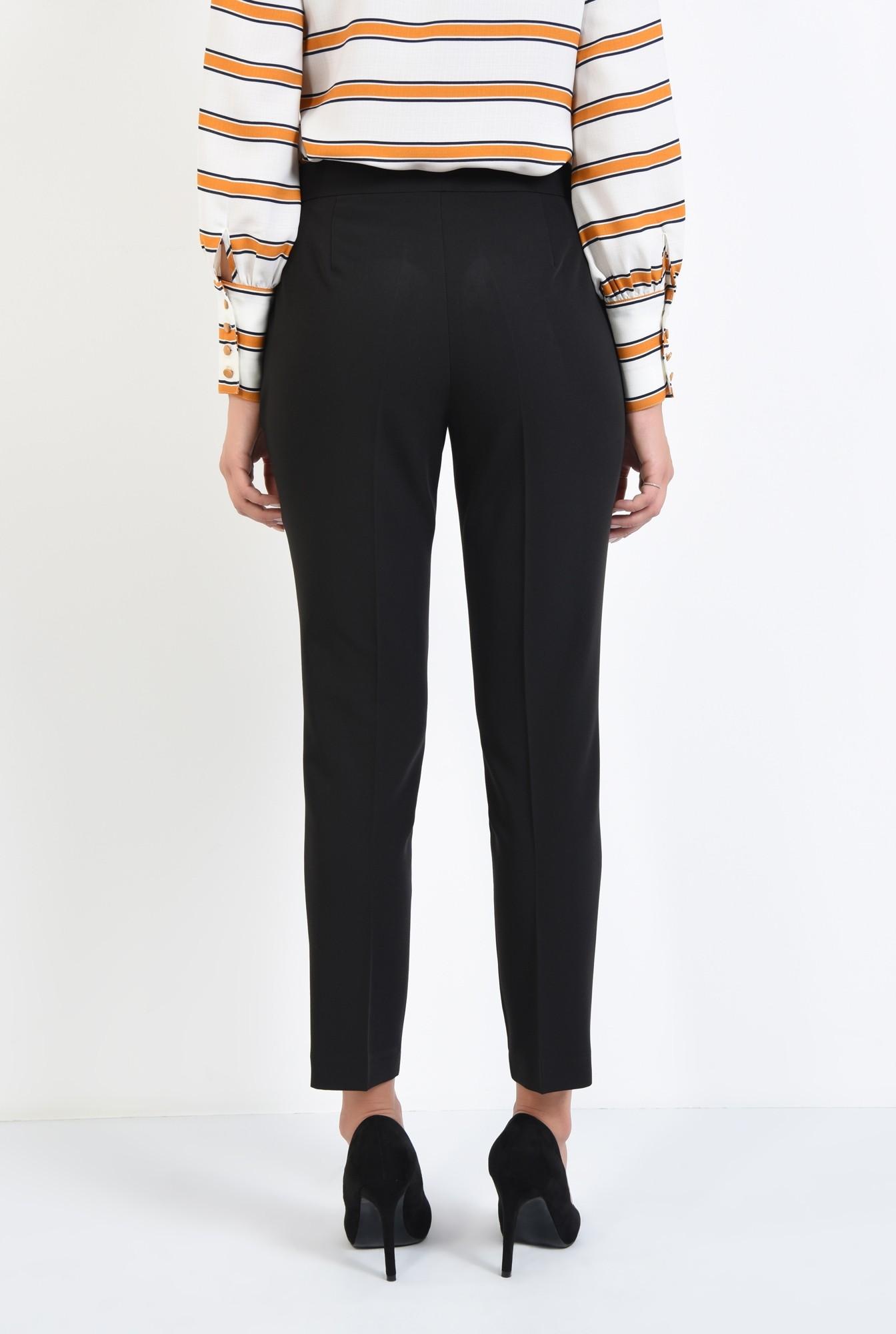 1 - pantaloni conici, negru, talie medie