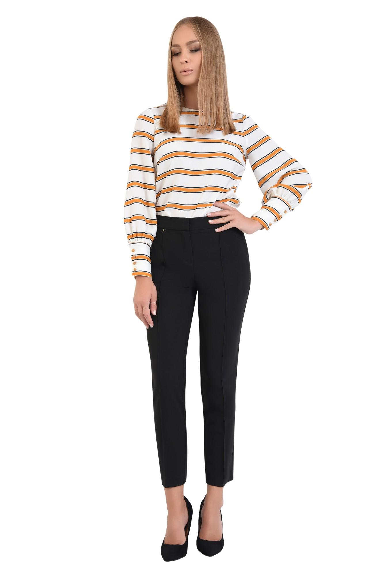 0 - pantaloni conici, negru, talie medie