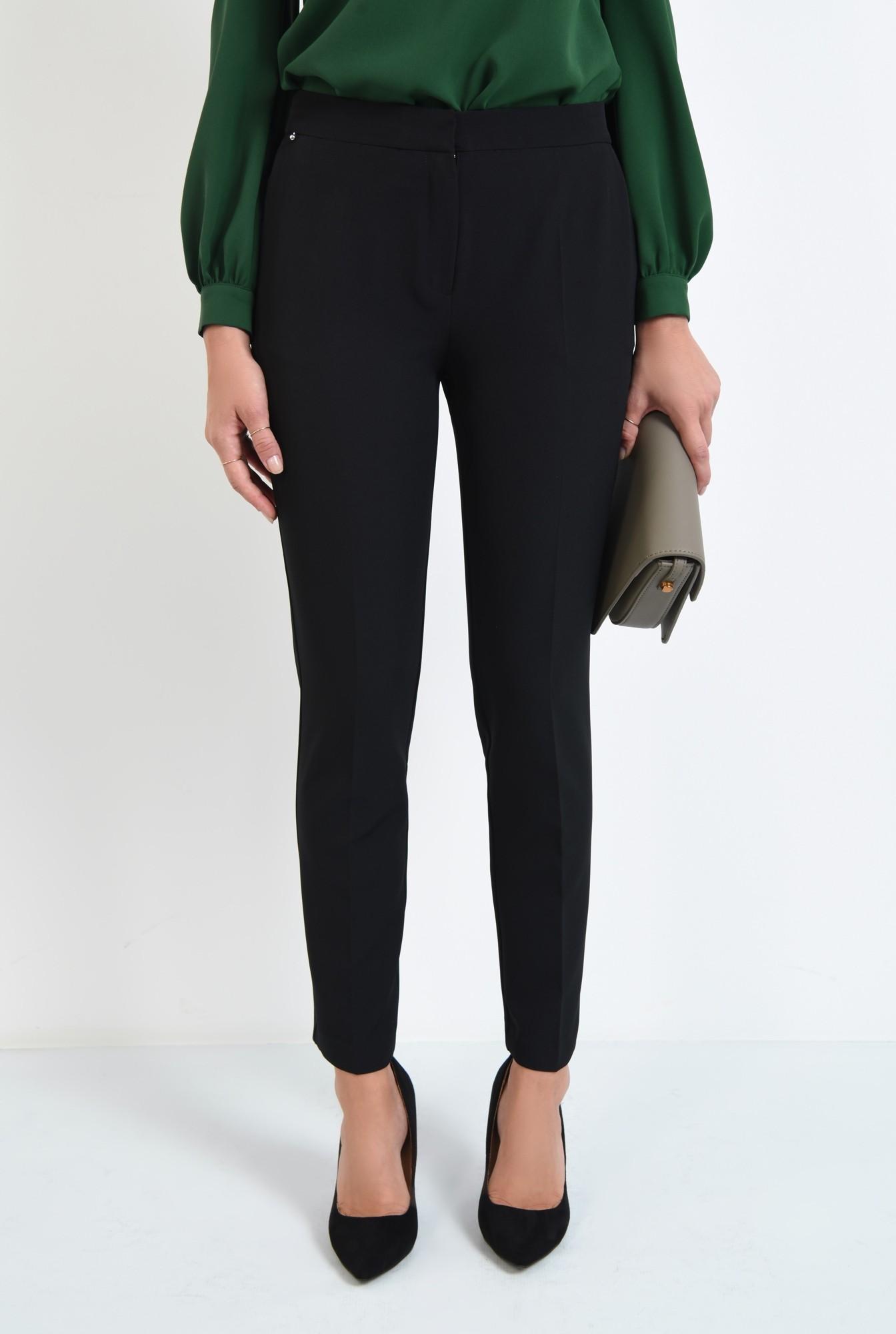 2 - pantaloni casual, negru, talie medie, buzunare