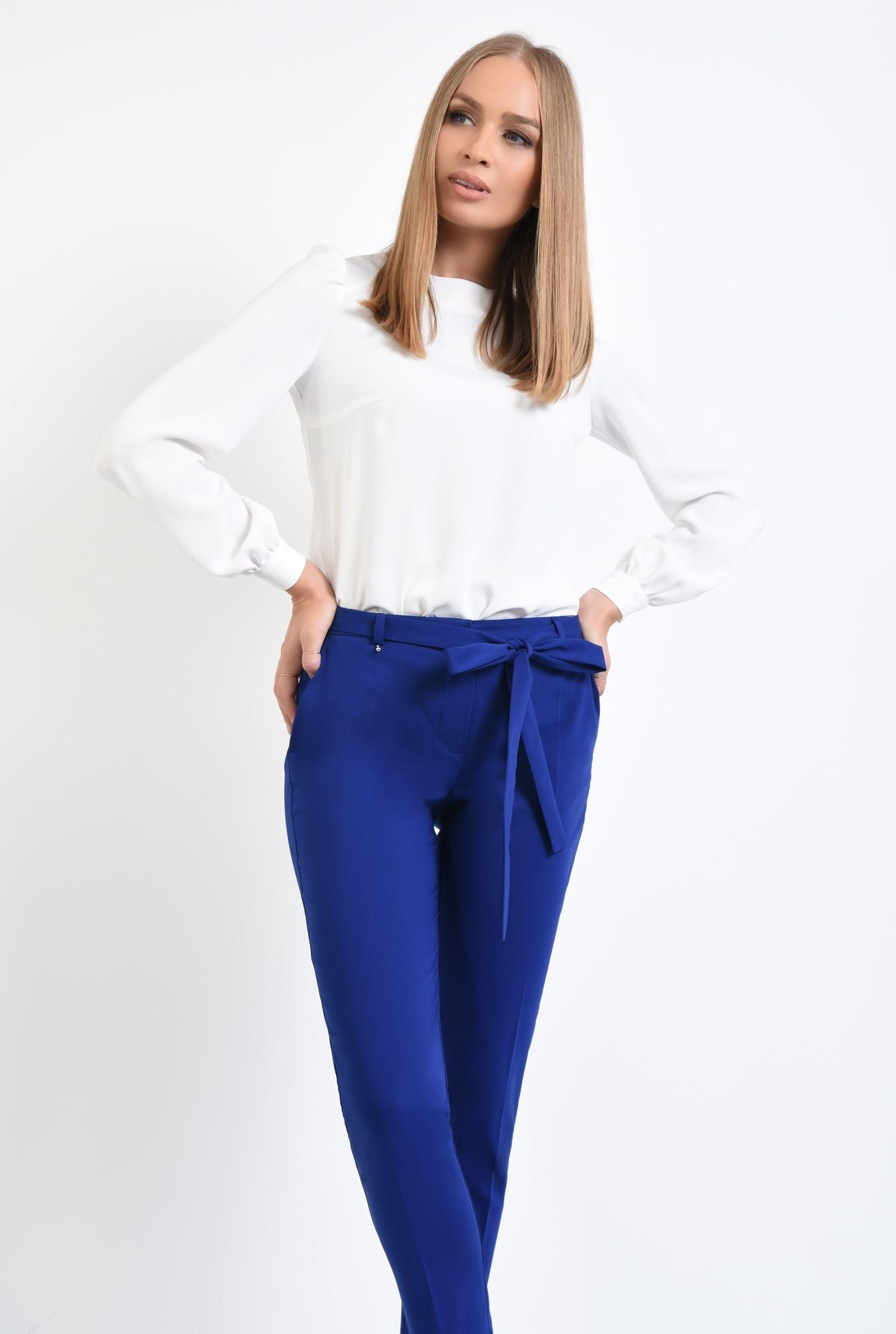 2 - pantaloni casual, conici, albastru, cu cordon