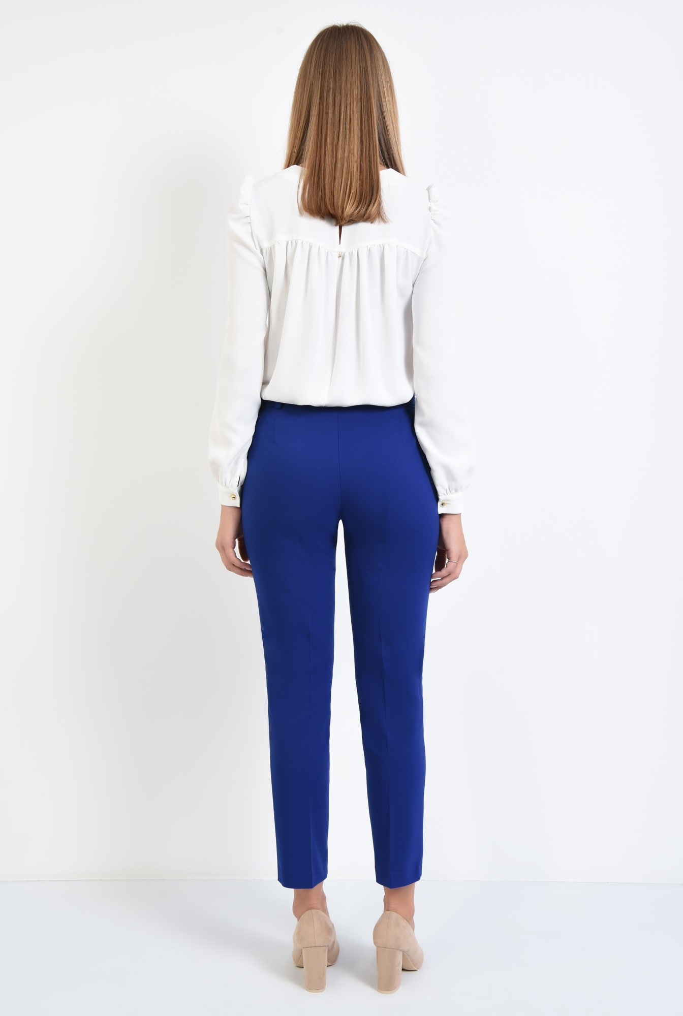 1 - pantaloni casual, conici, albastru, cu cordon