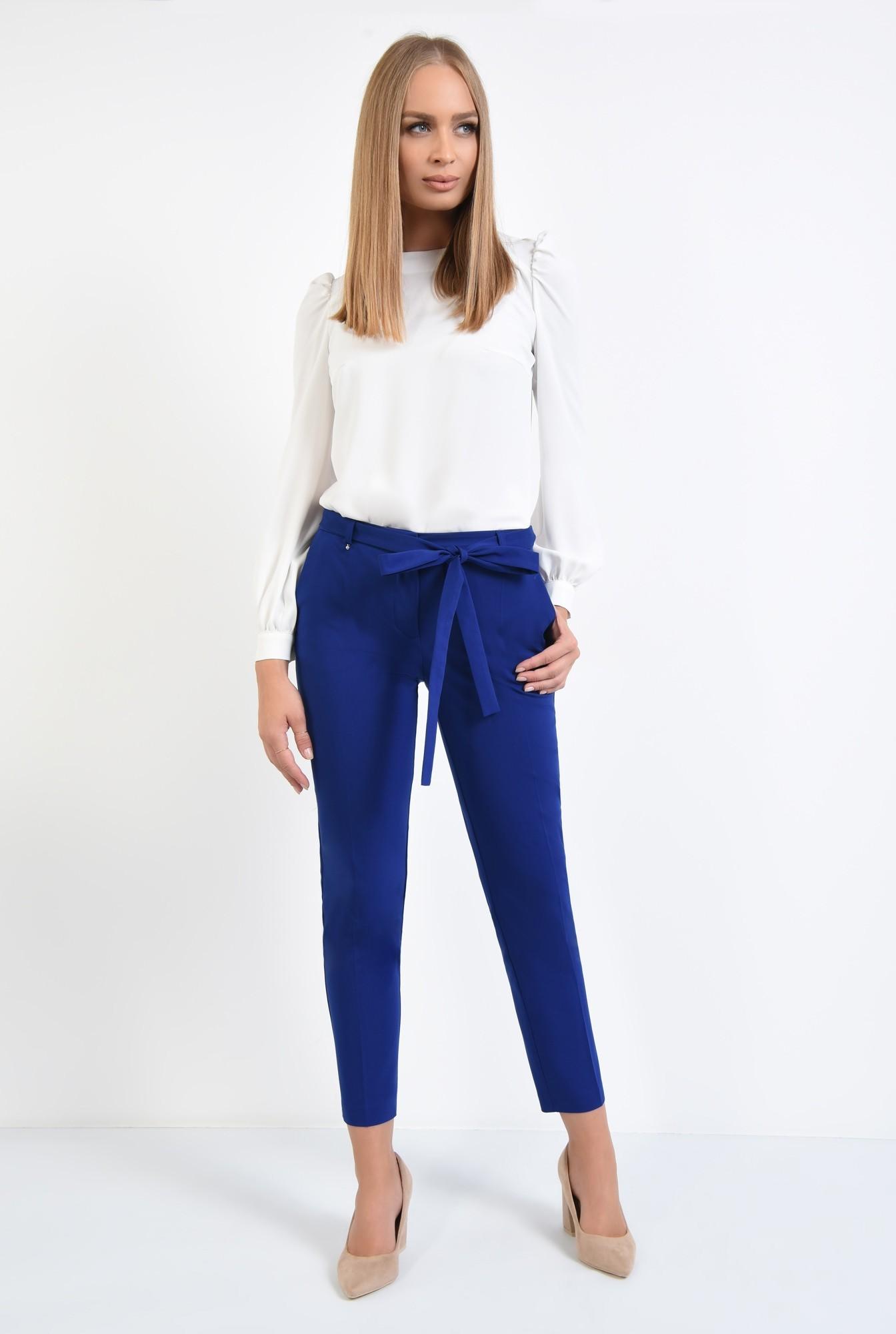 3 - pantaloni casual, conici, albastru, cu cordon