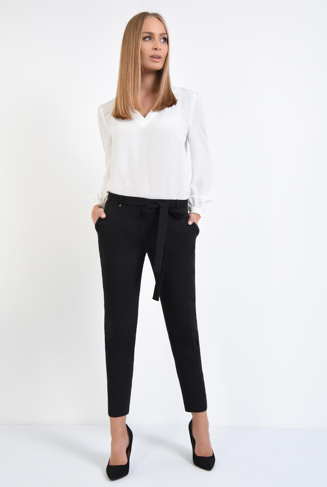 3 - pantaloni casual, negru, buzunare, cordon