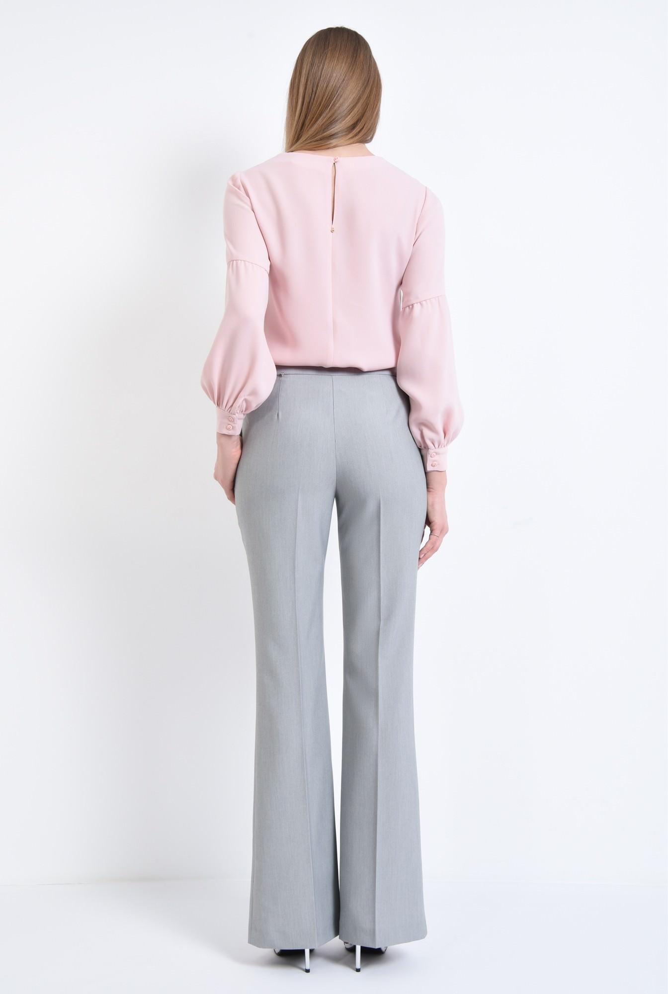 1 - Pantaloni evazati, la dunga, gri