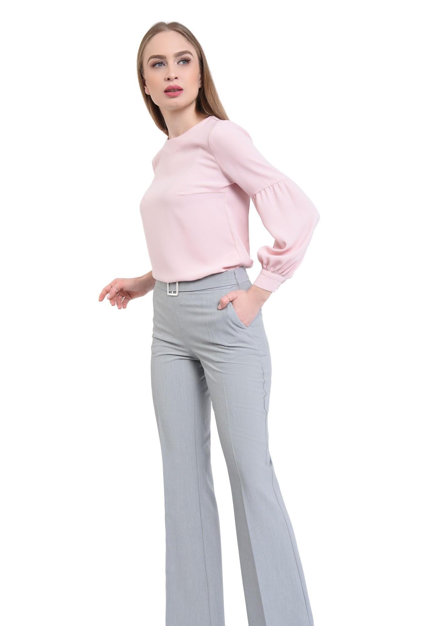 0 - Pantaloni evazati, la dunga, gri