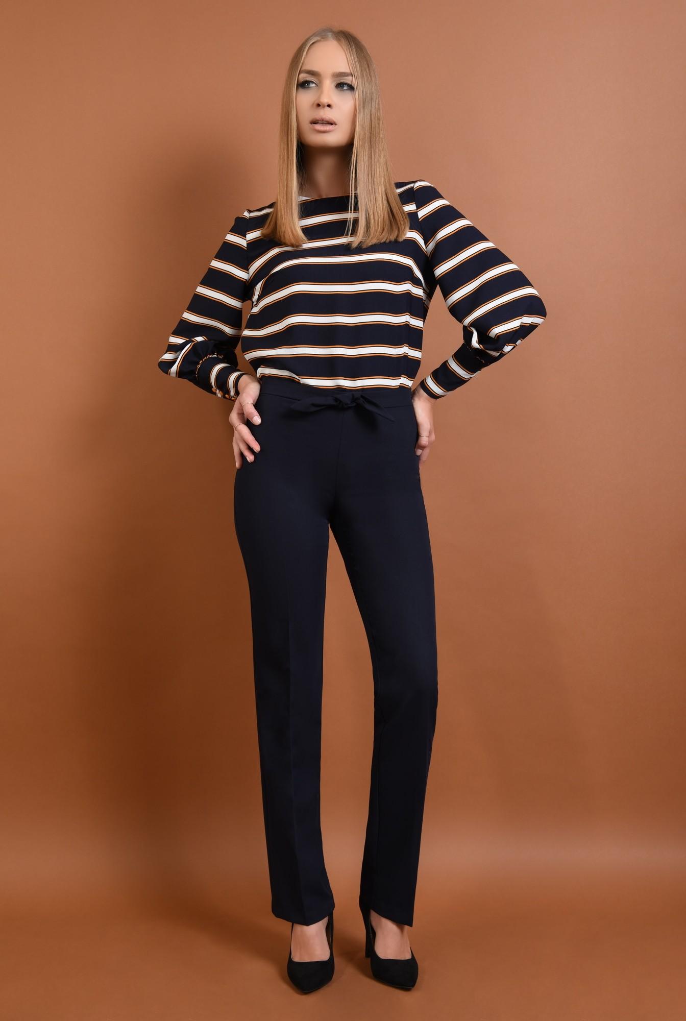 3 - 360 - pantaloni pana, bleumarin, croi clasic, funda la talie