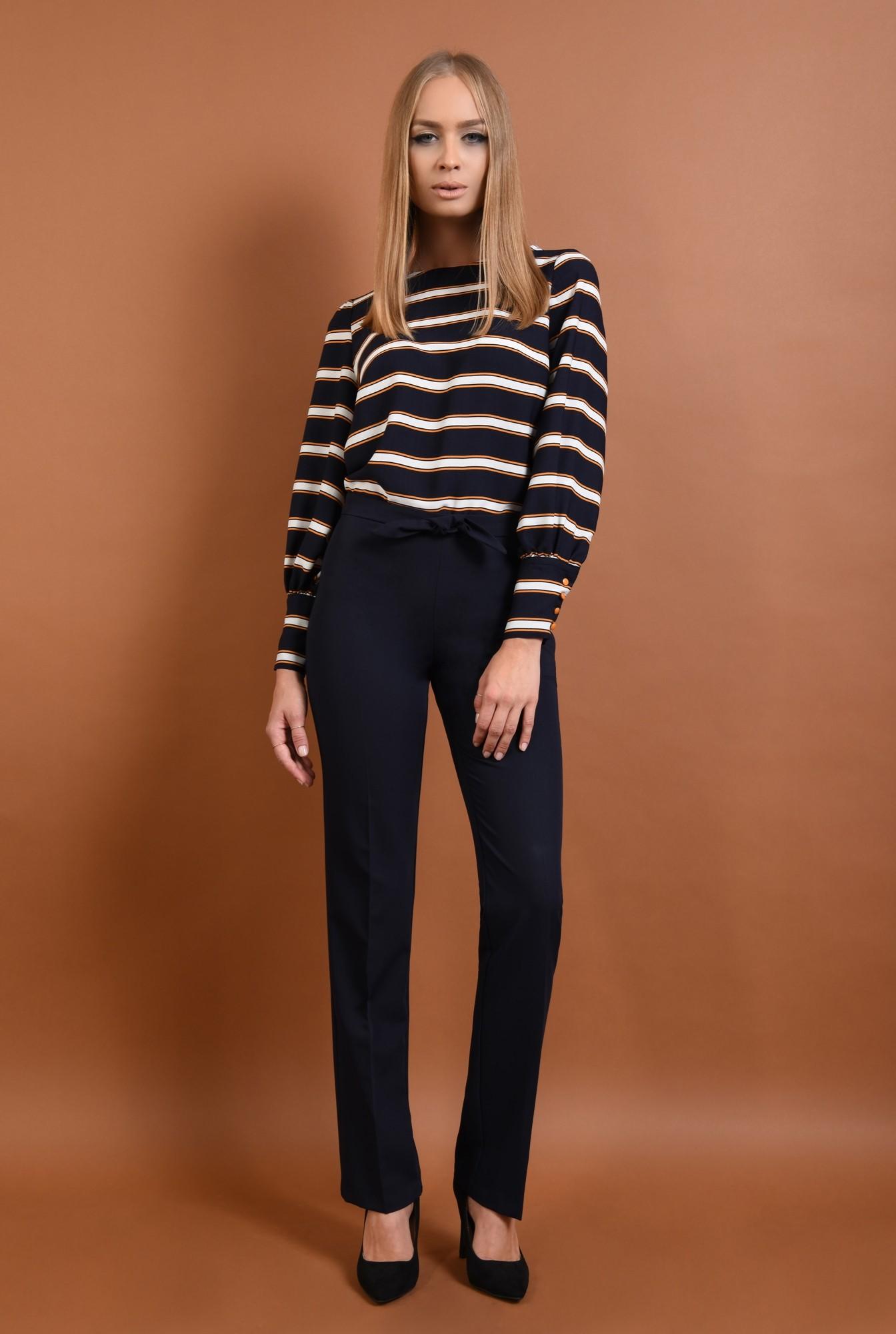 0 - 360 - pantaloni pana, bleumarin, croi clasic, funda la talie